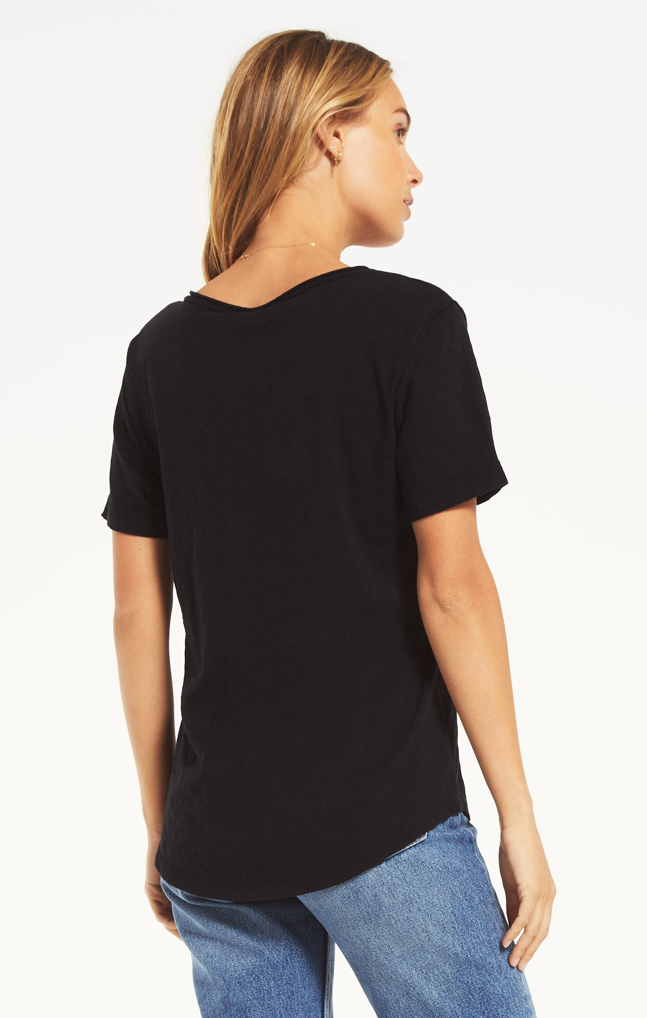 Tops Airy Slub Short Sleeve V-Neck Tee Black
