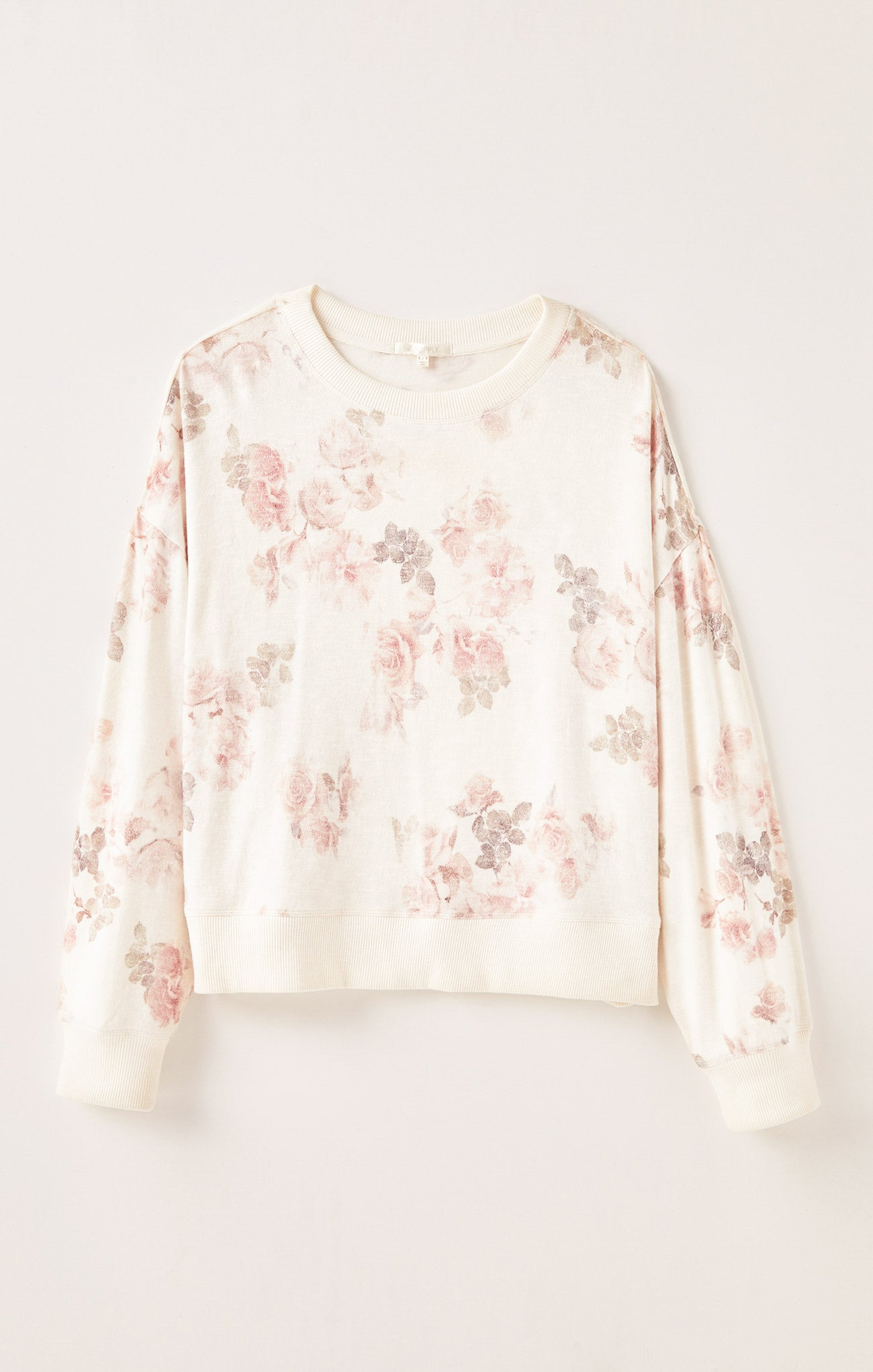 Tops Elle Floral Long Sleeve Bone