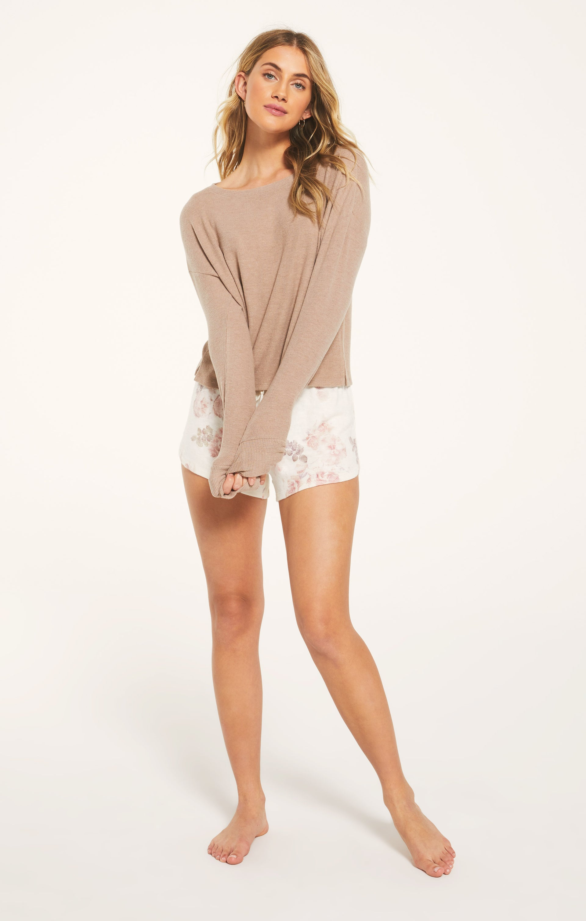 Tops Leila Rib Long Sleeve Cocoa