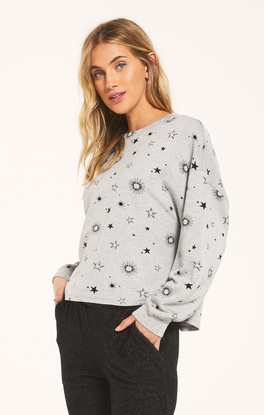 Tops Jessie Star Long Sleeve Heather Grey
