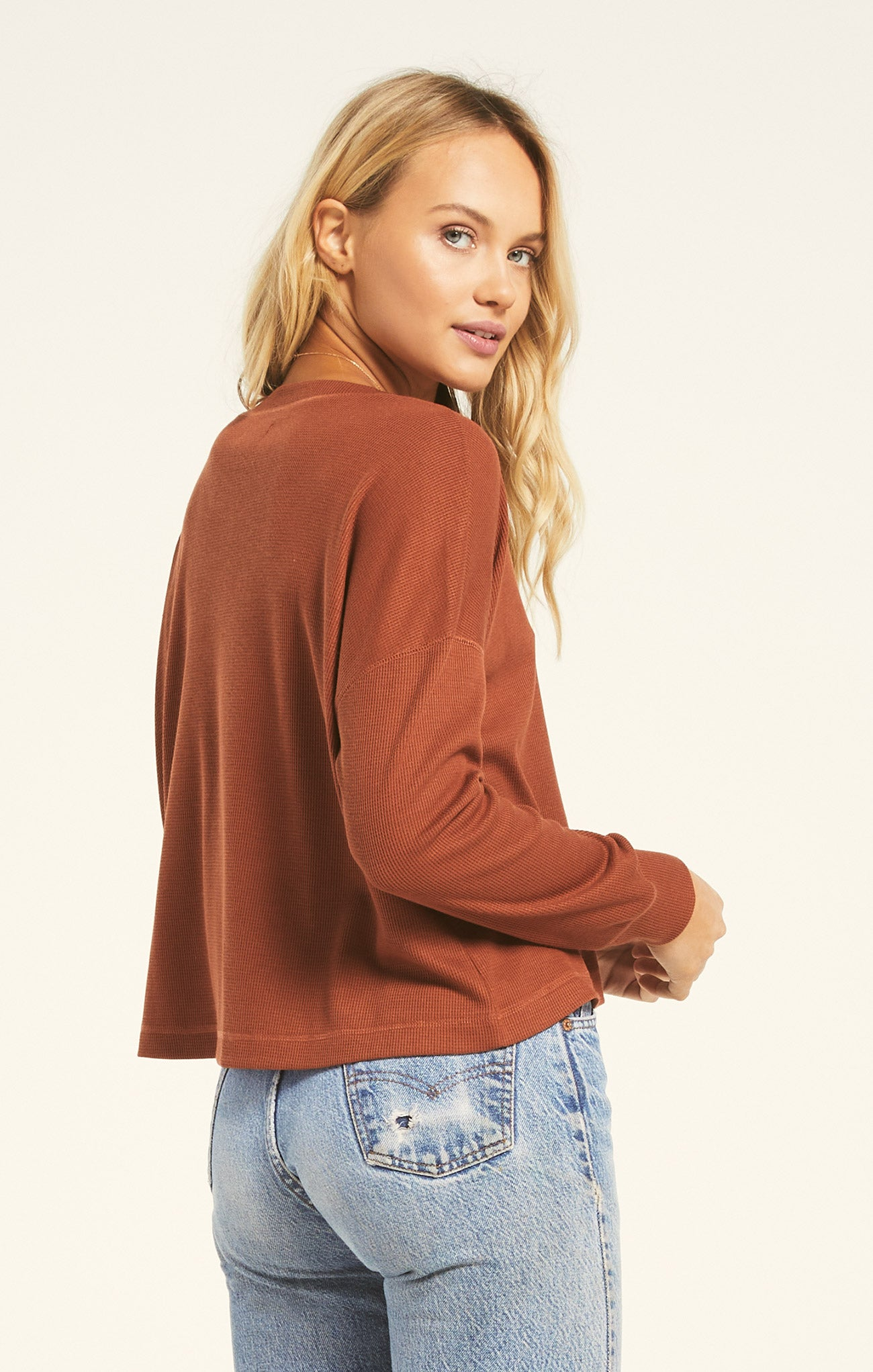 Tops Mason Thermal Henley Whiskey