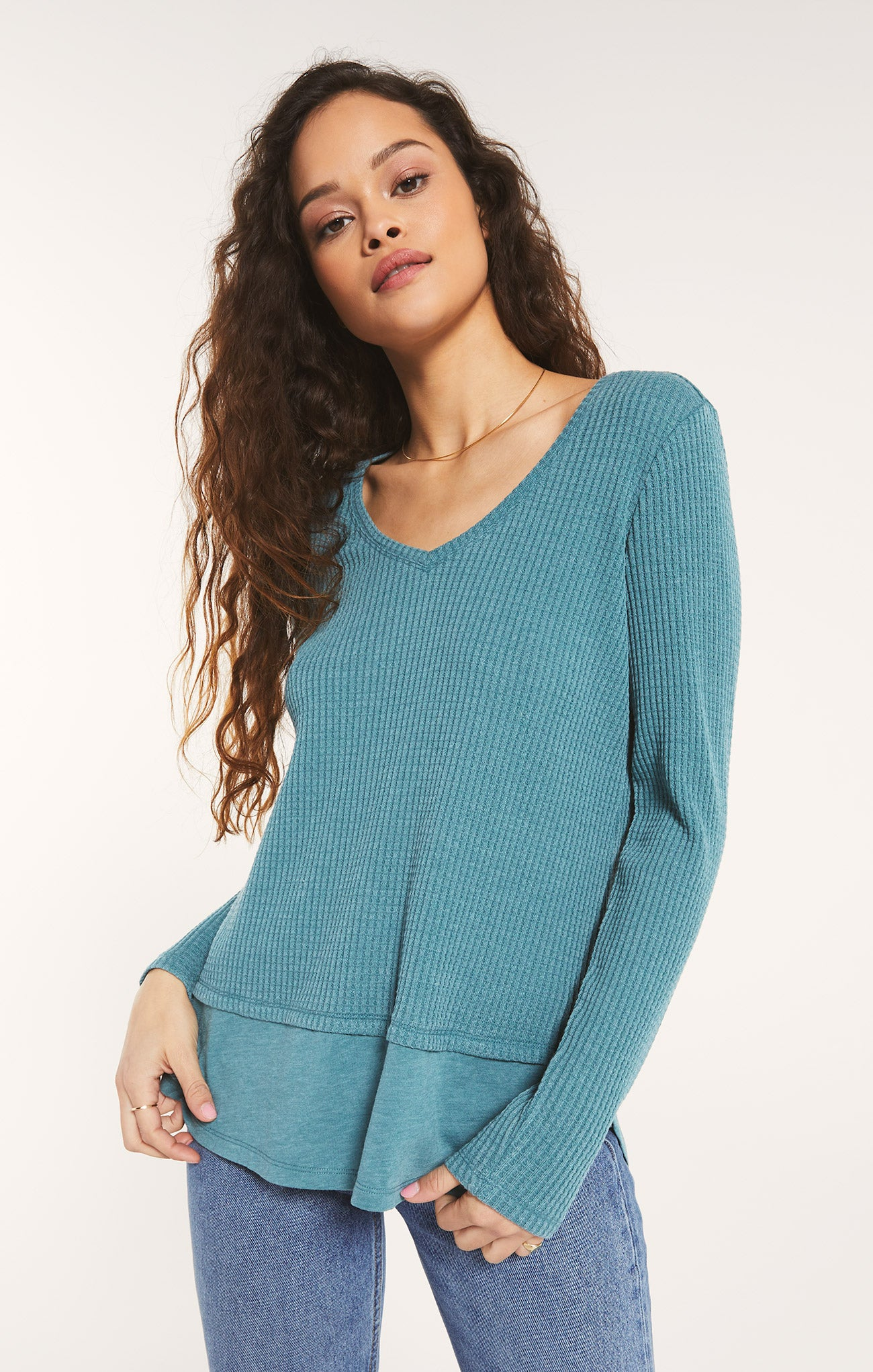 Tops Raine Thermal Tunic Teal