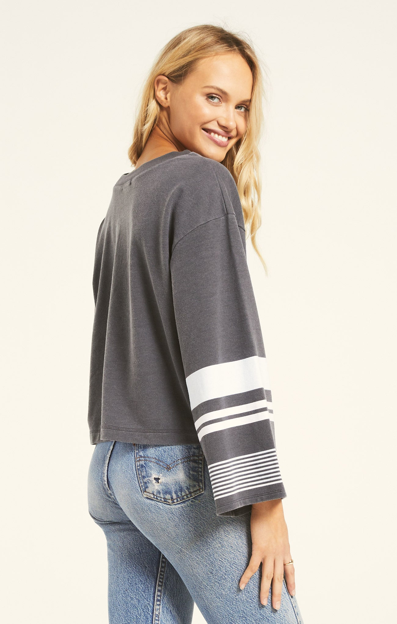 Tops Tera Stripe Pullover Charcoal