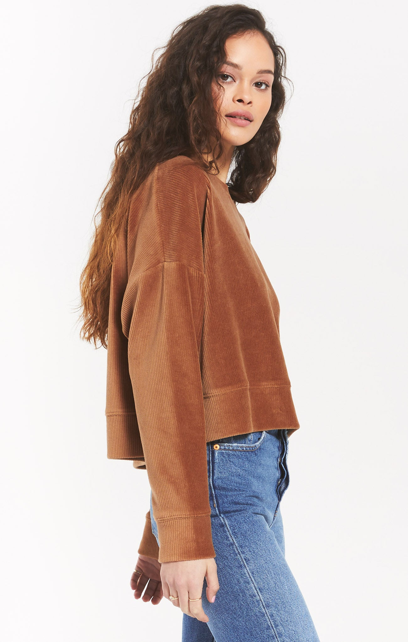 Tops Astrid Cord Pullover Camel