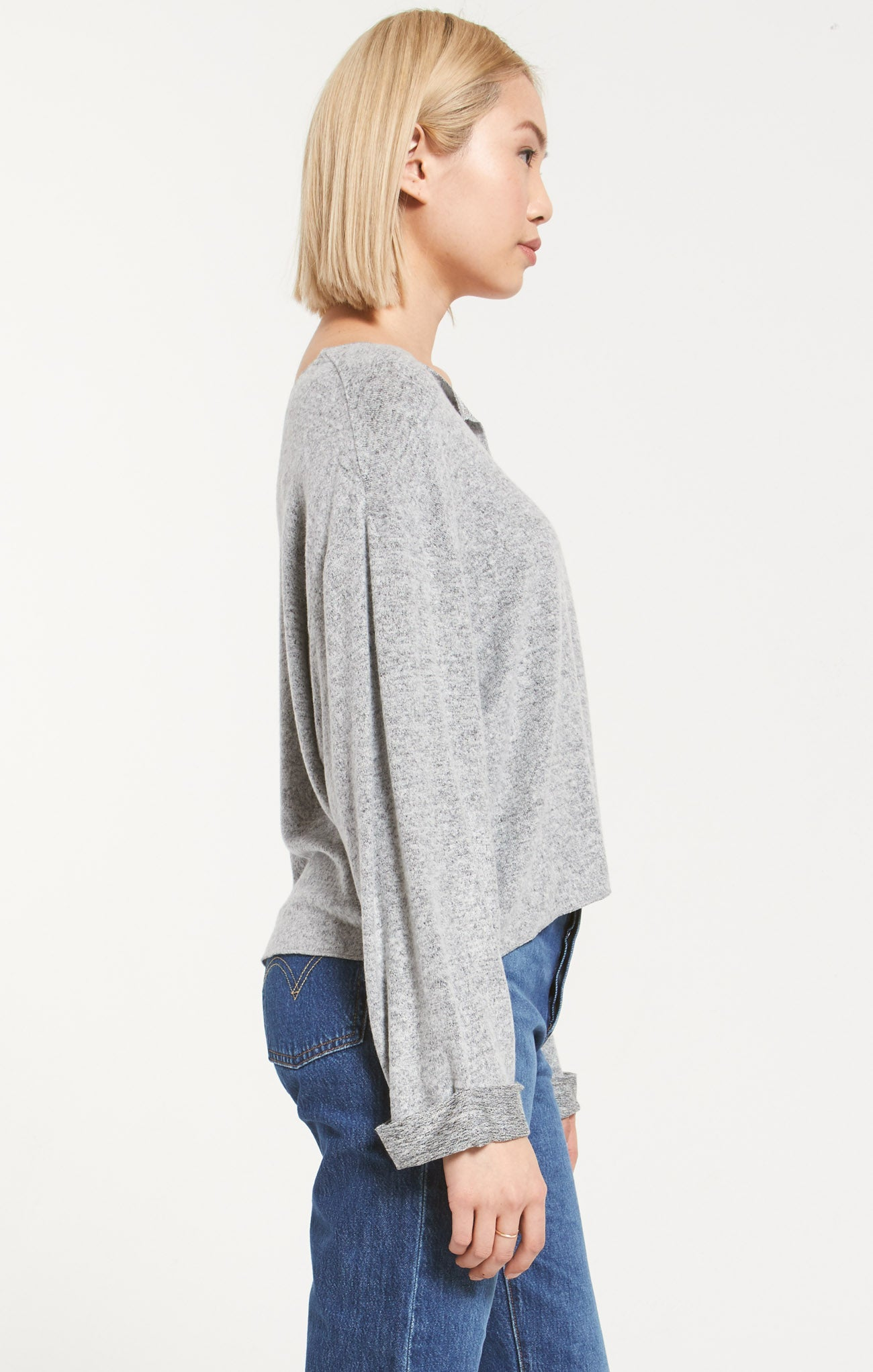 Tops Alpine Marled Pullover Heather Grey