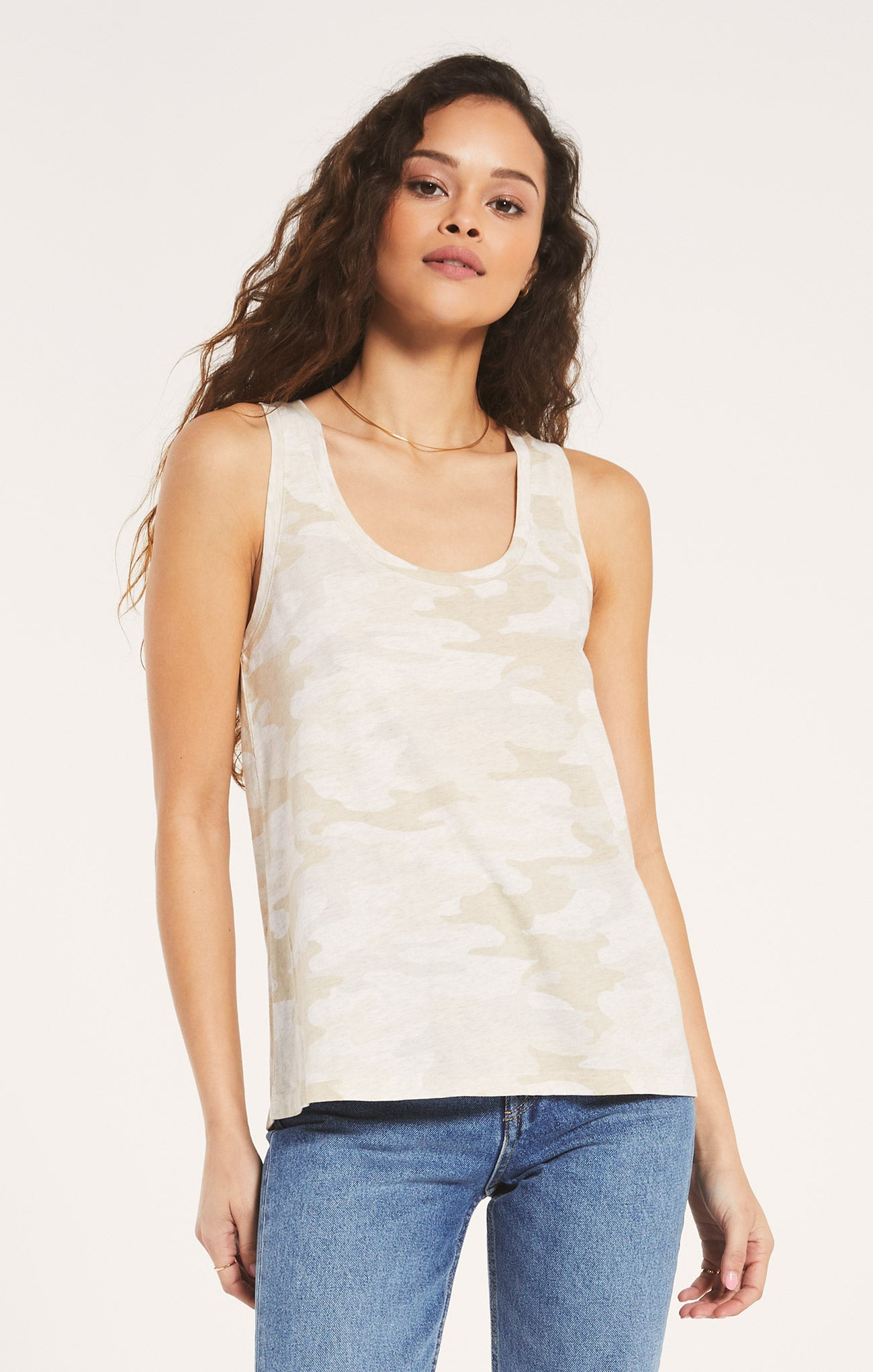 Tops Ally Camo Tank Light Oatmeal