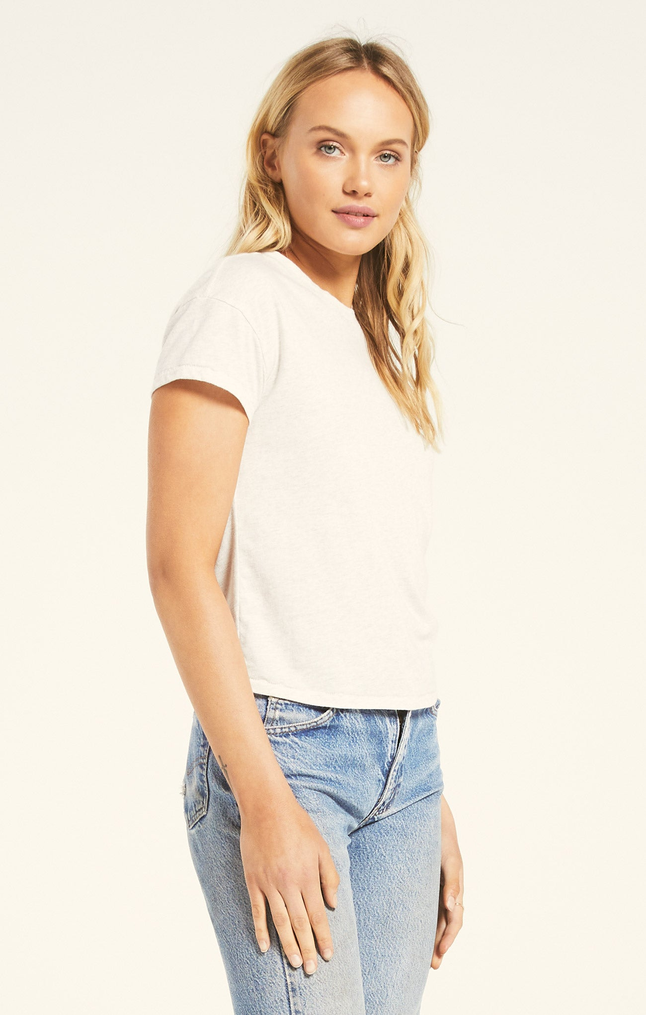Tops Modern Jersey Crew Light Oatmeal