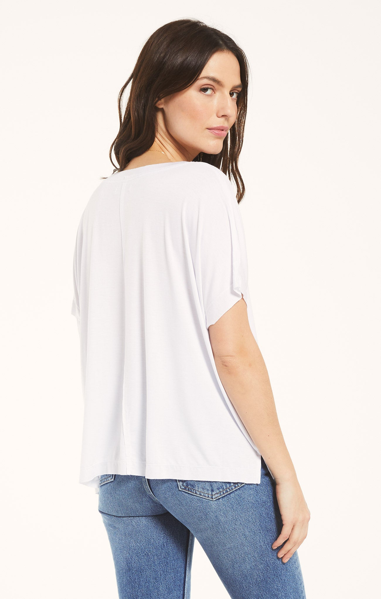 Tops Mischa Sleek V-Neck Tee White