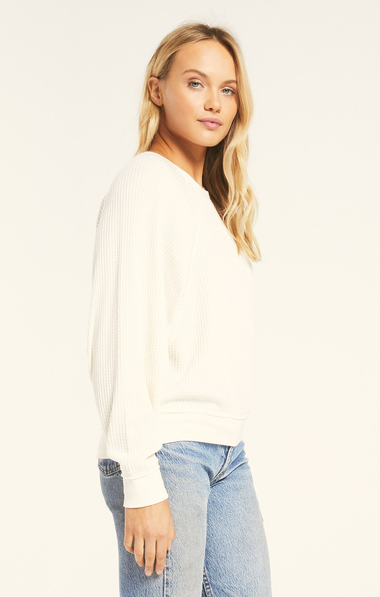 Tops Claire Waffle Long Sleeve Bone