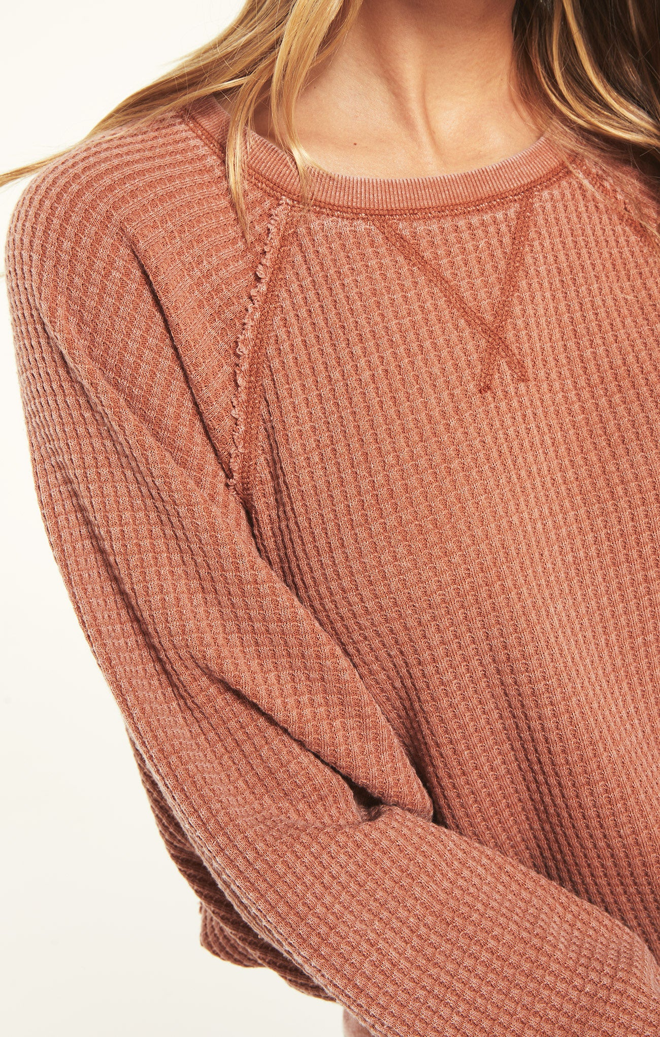 Tops Claire Waffle Long Sleeve Copper