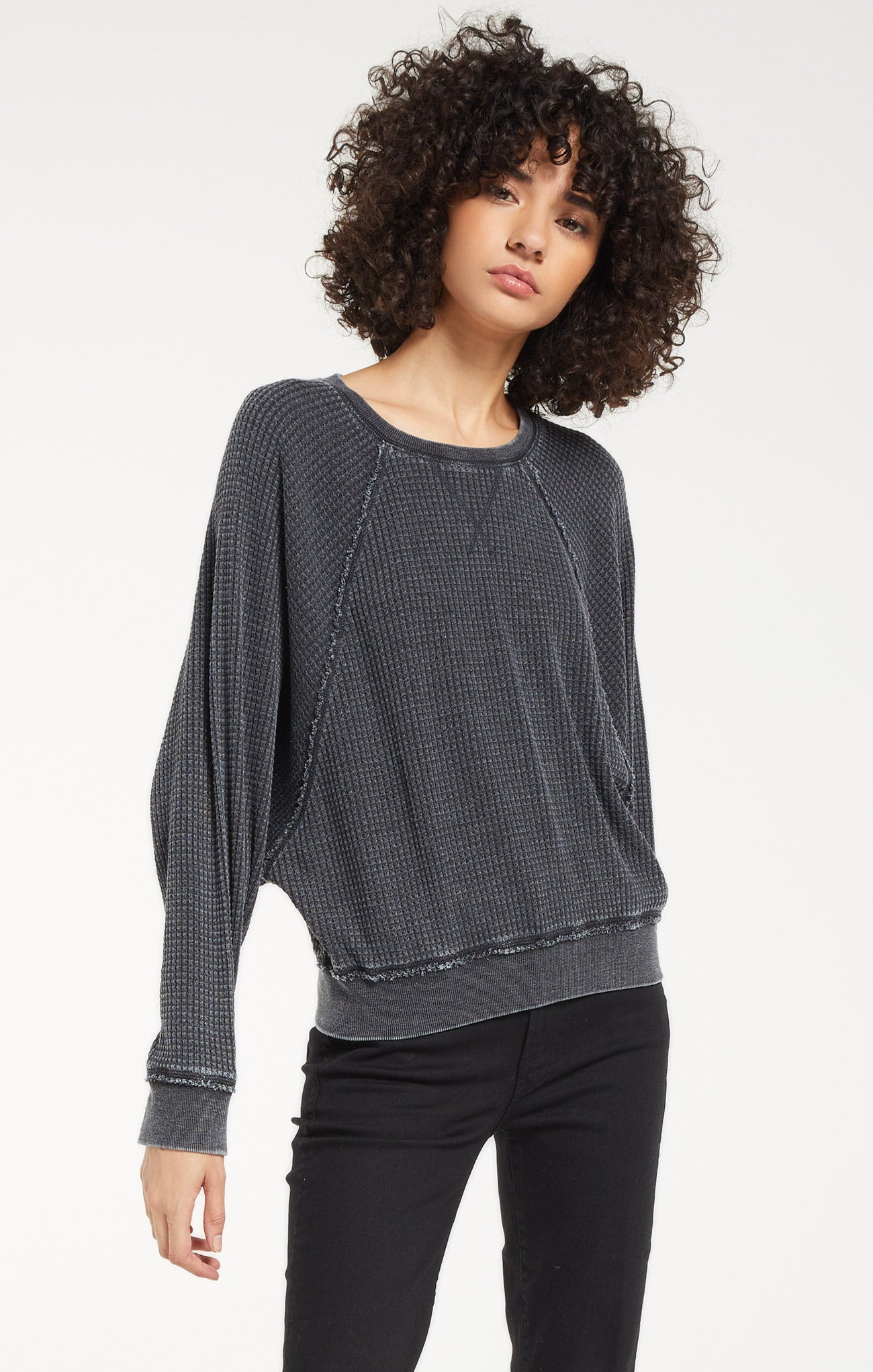 Tops Claire Waffle Long Sleeve Onyx