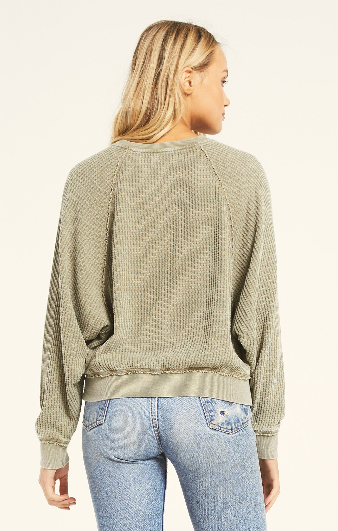 Tops Claire Waffle Long Sleeve Washed Olive