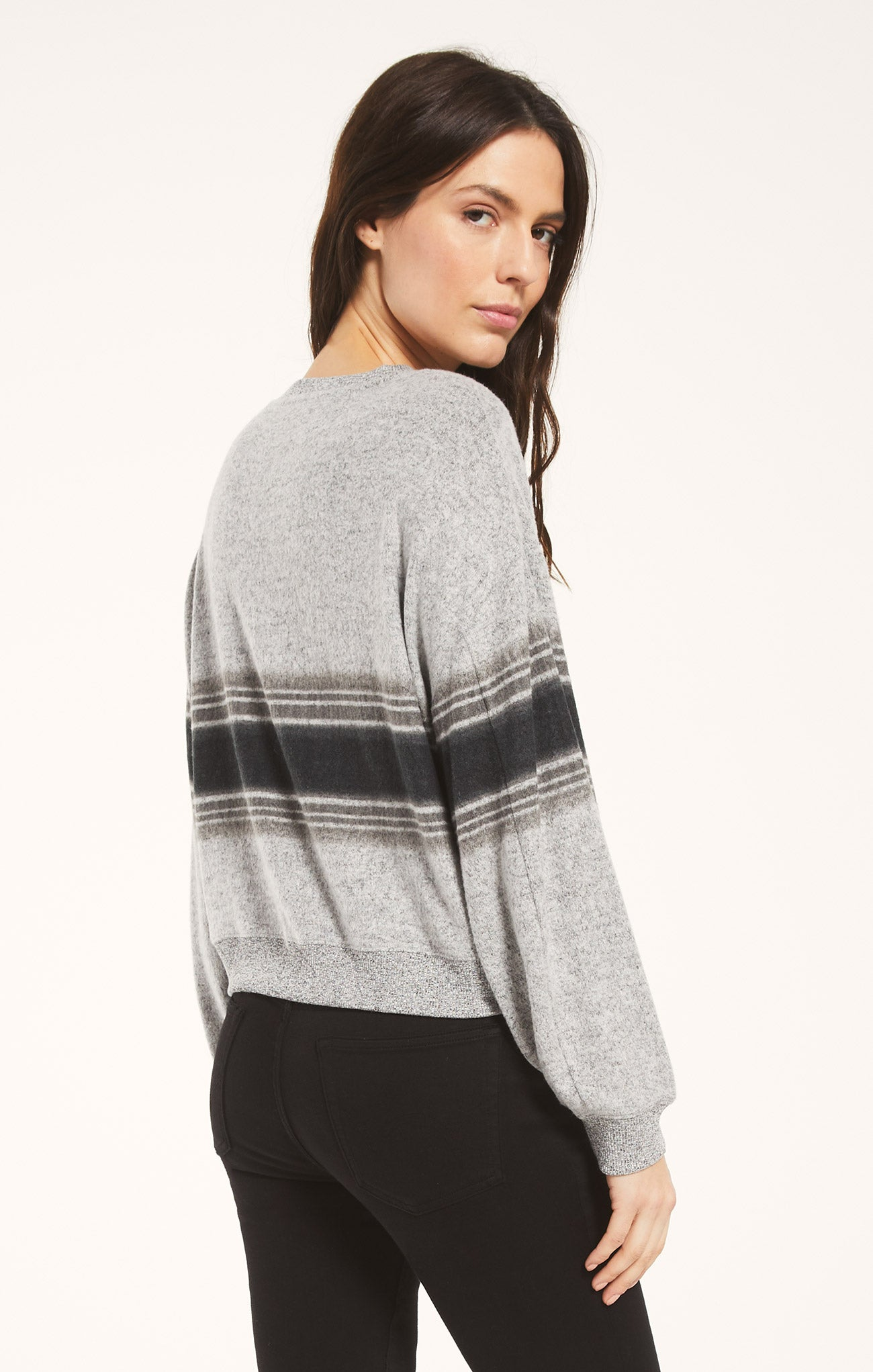 Tops Elle Marled Stripe Long Sleeve Heather Grey