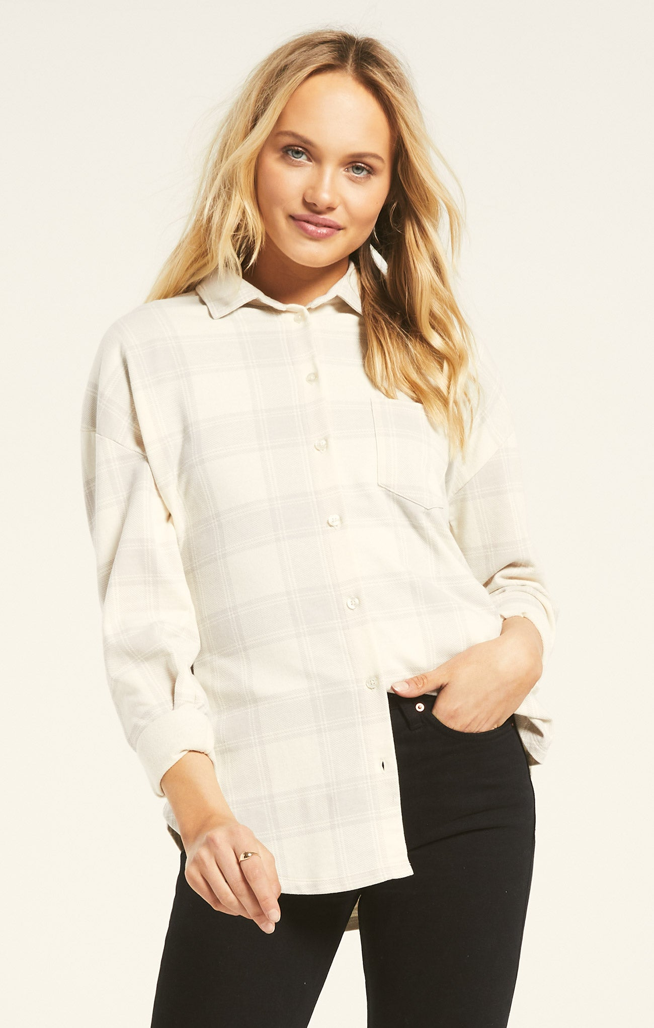 Tops Ada Plaid Shirt Silver