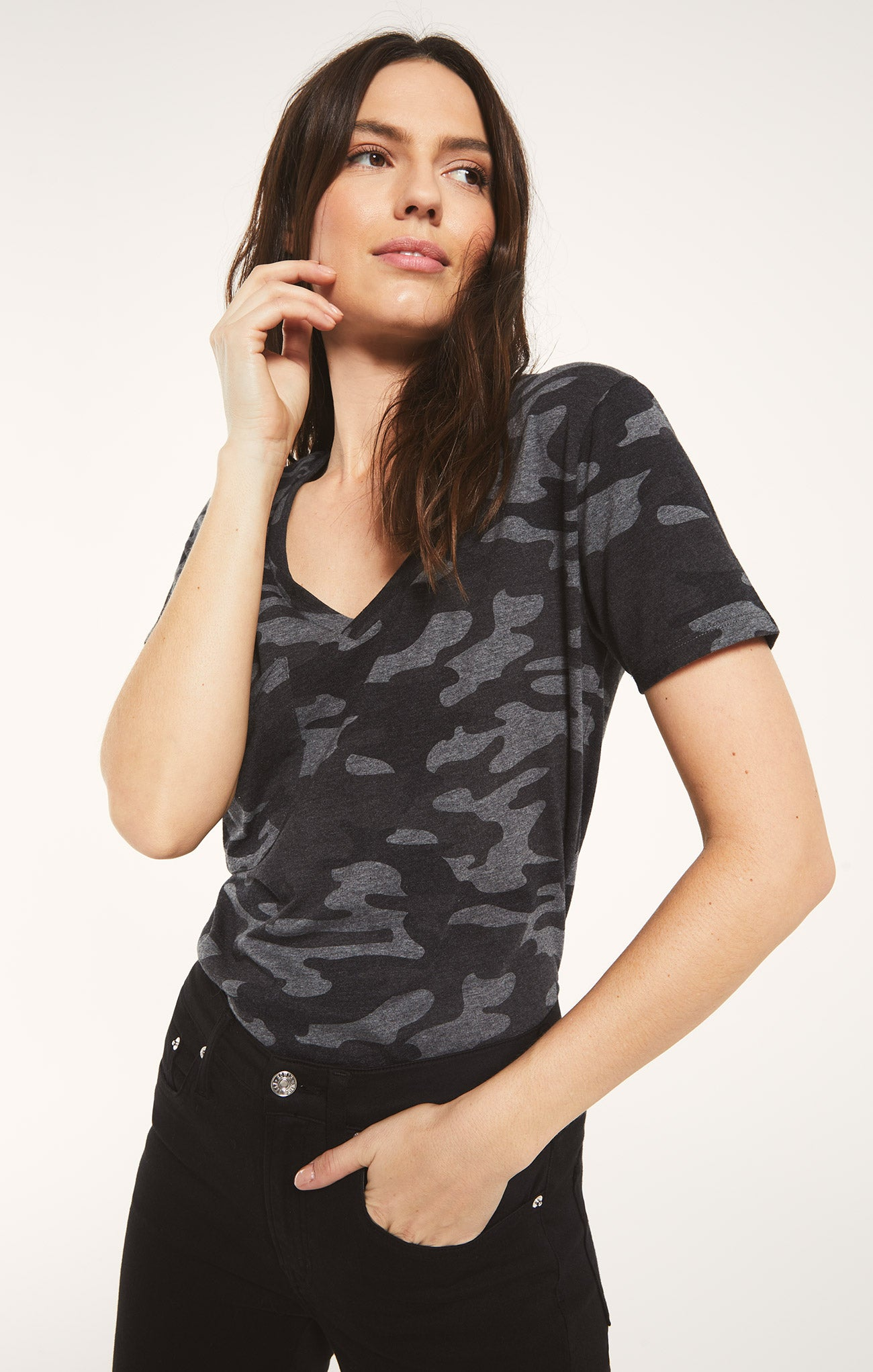 Tops Pocket Camo Tee Charcoal