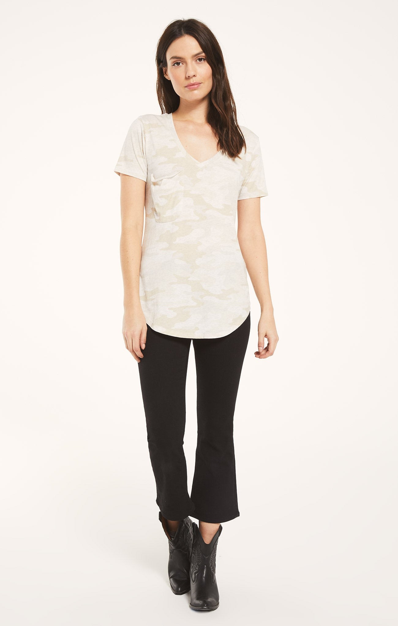 Tops Pocket Camo Tee Light Oatmeal