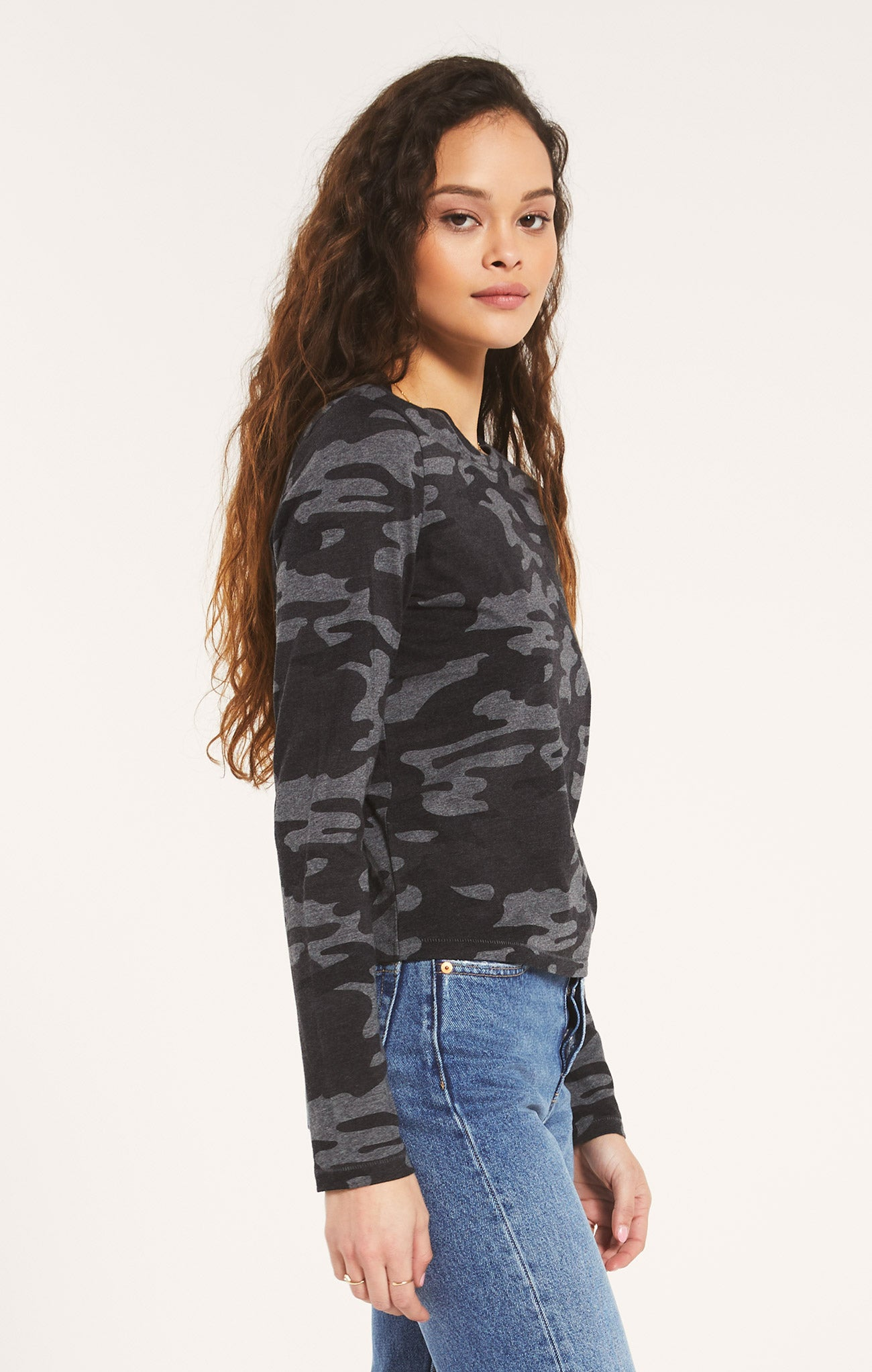 Tops Modern Camo Long Sleeve Charcoal