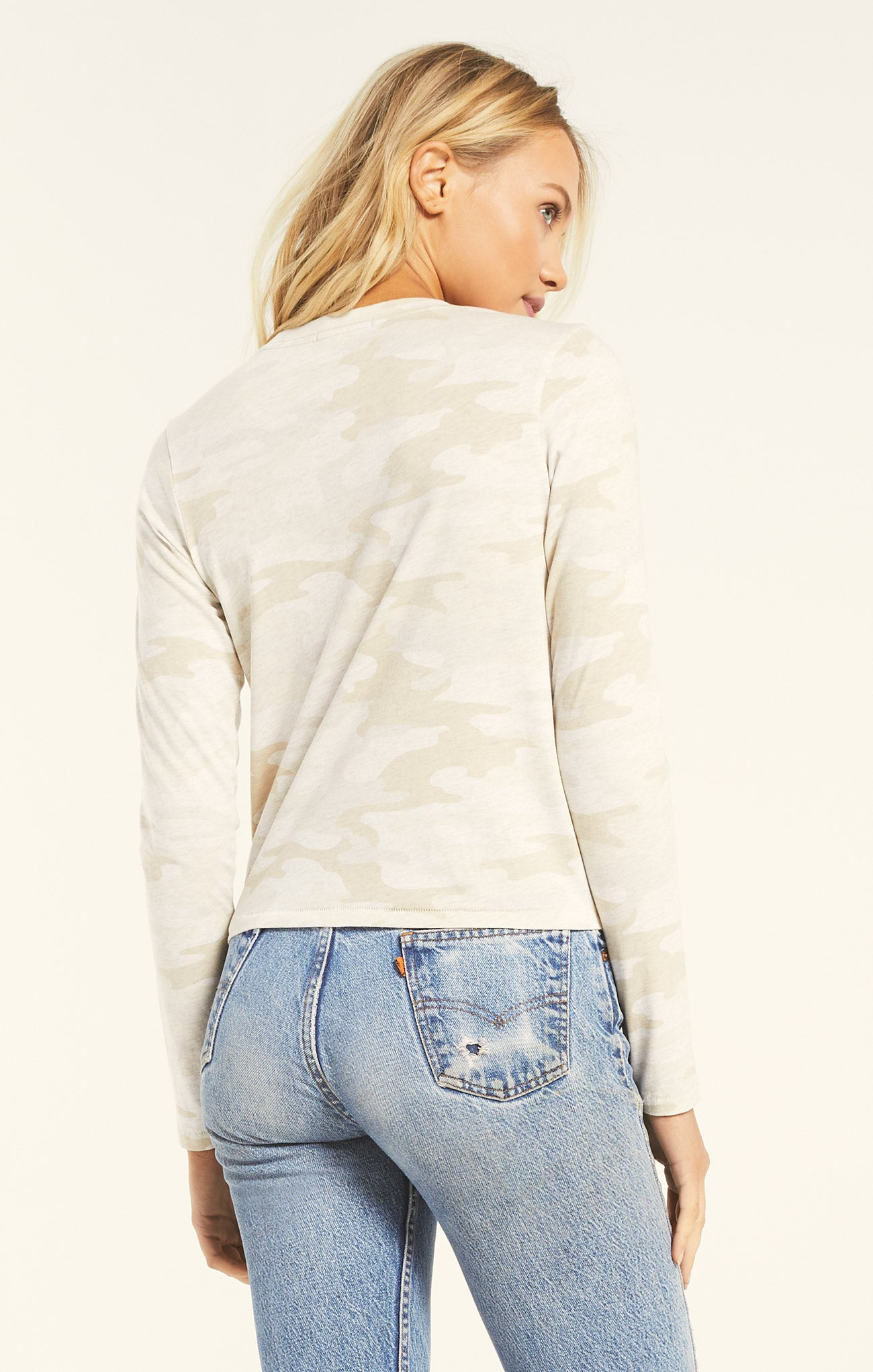 Tops Modern Camo Long Sleeve Light Oatmeal