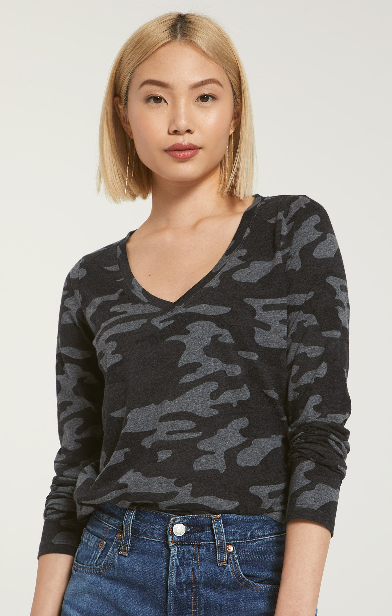 Tops Kinney Camo Long Sleeve Charcoal