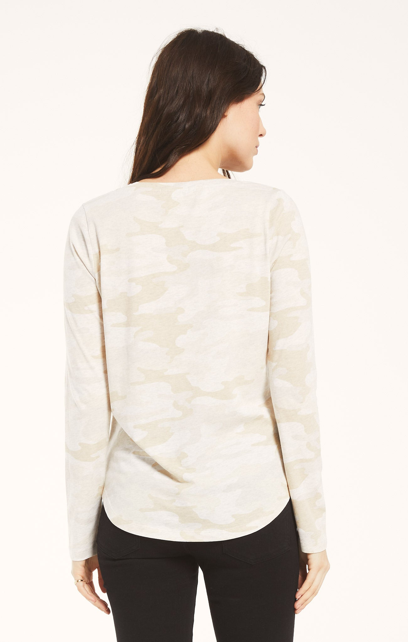 Tops Kinney Camo Long Sleeve Light Oatmeal