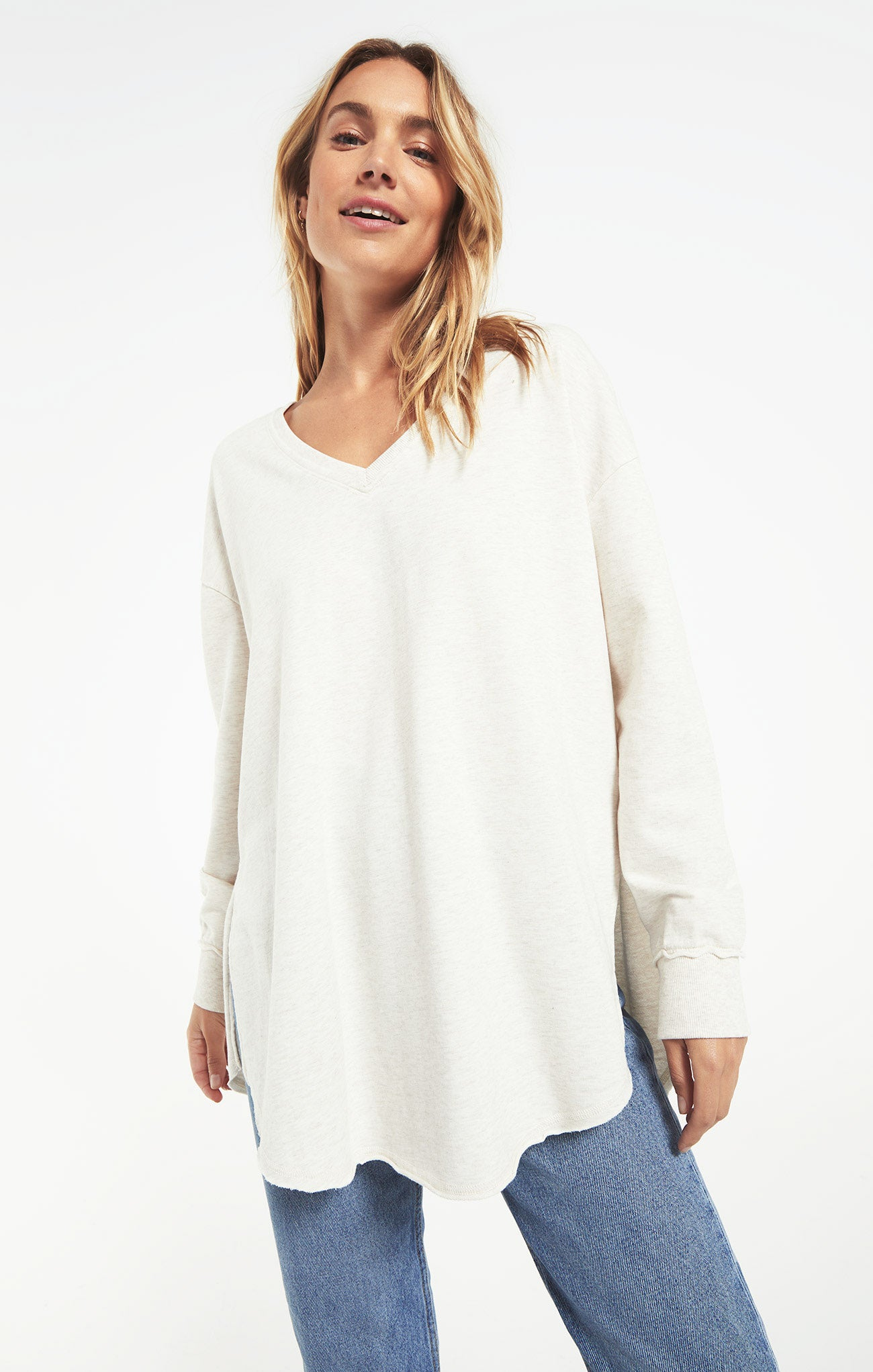Tops V-Neck Weekender Light Oatmeal