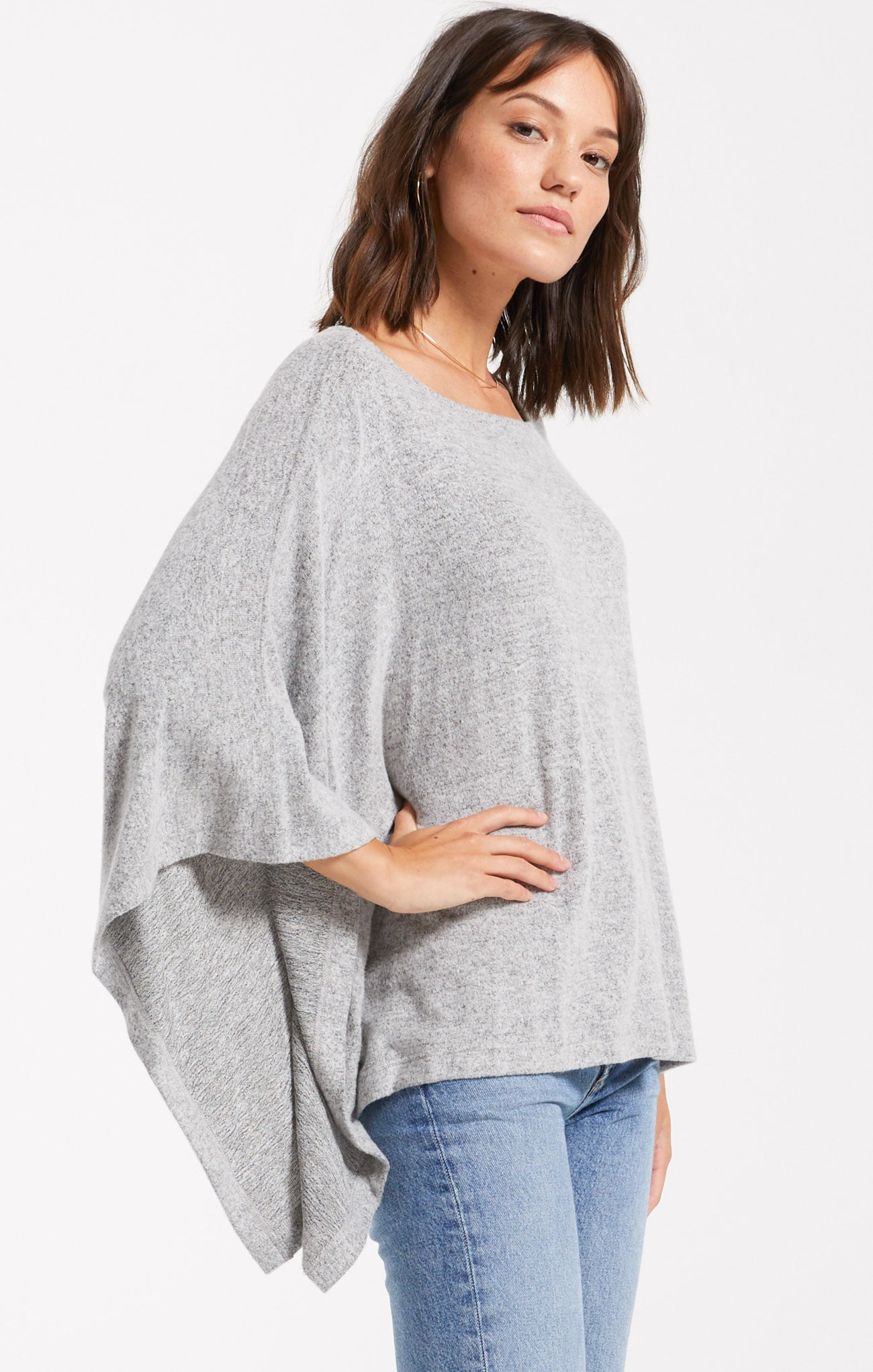 Tops Ruby Marled Poncho Heather Grey