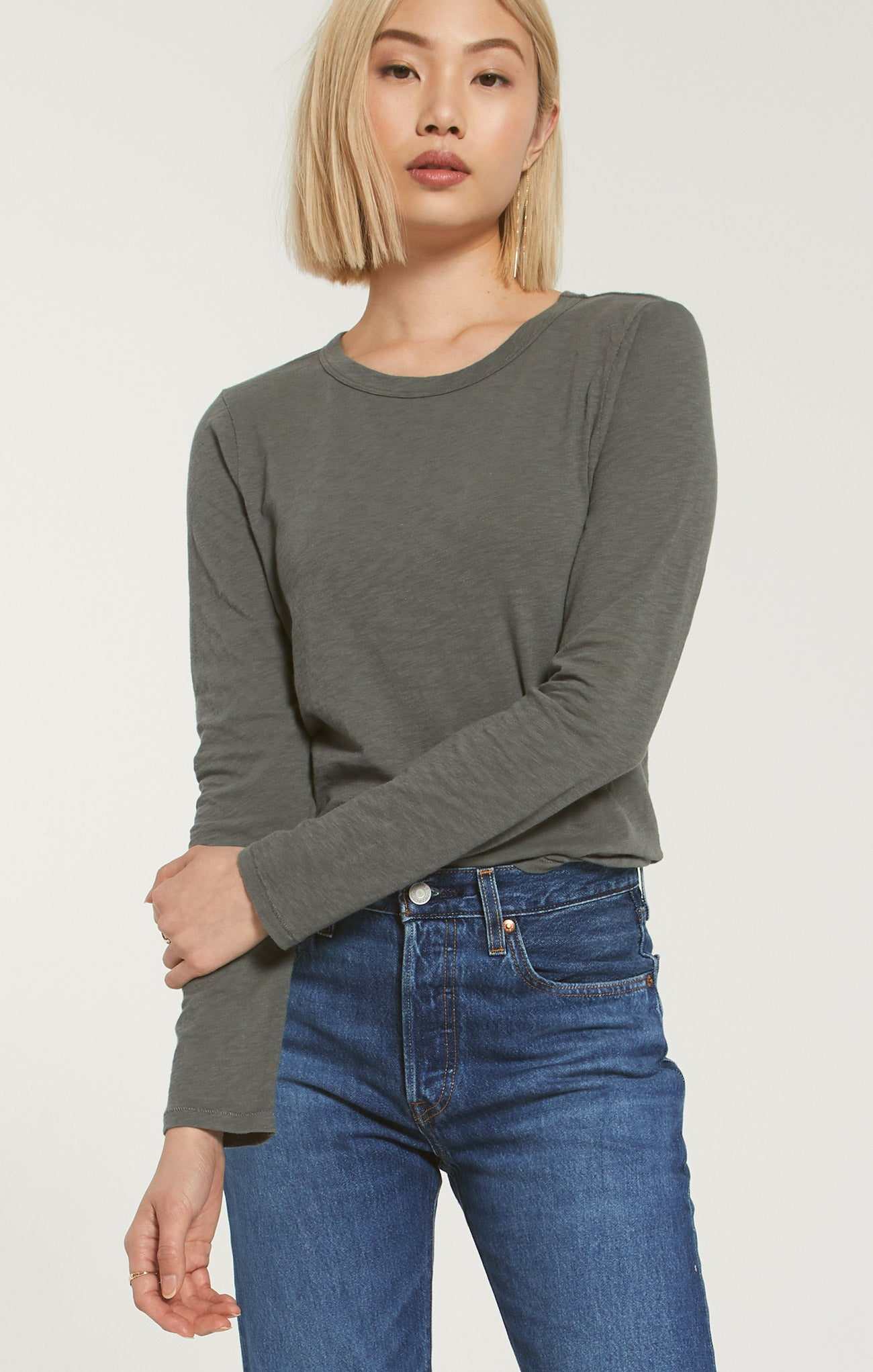 Tops Everyday Slub Long Sleeve Ash Green