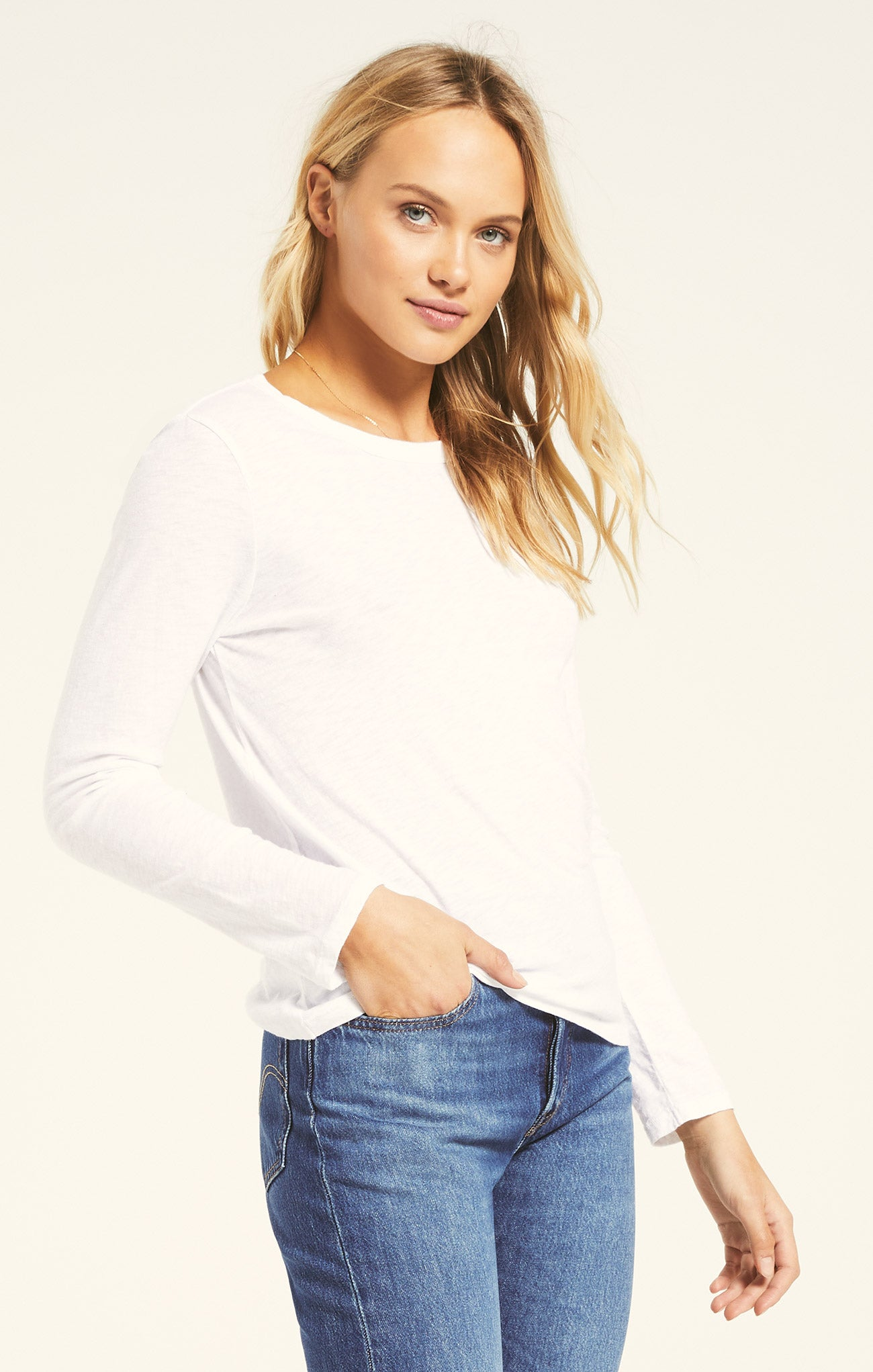 Tops Everyday Slub Long Sleeve White