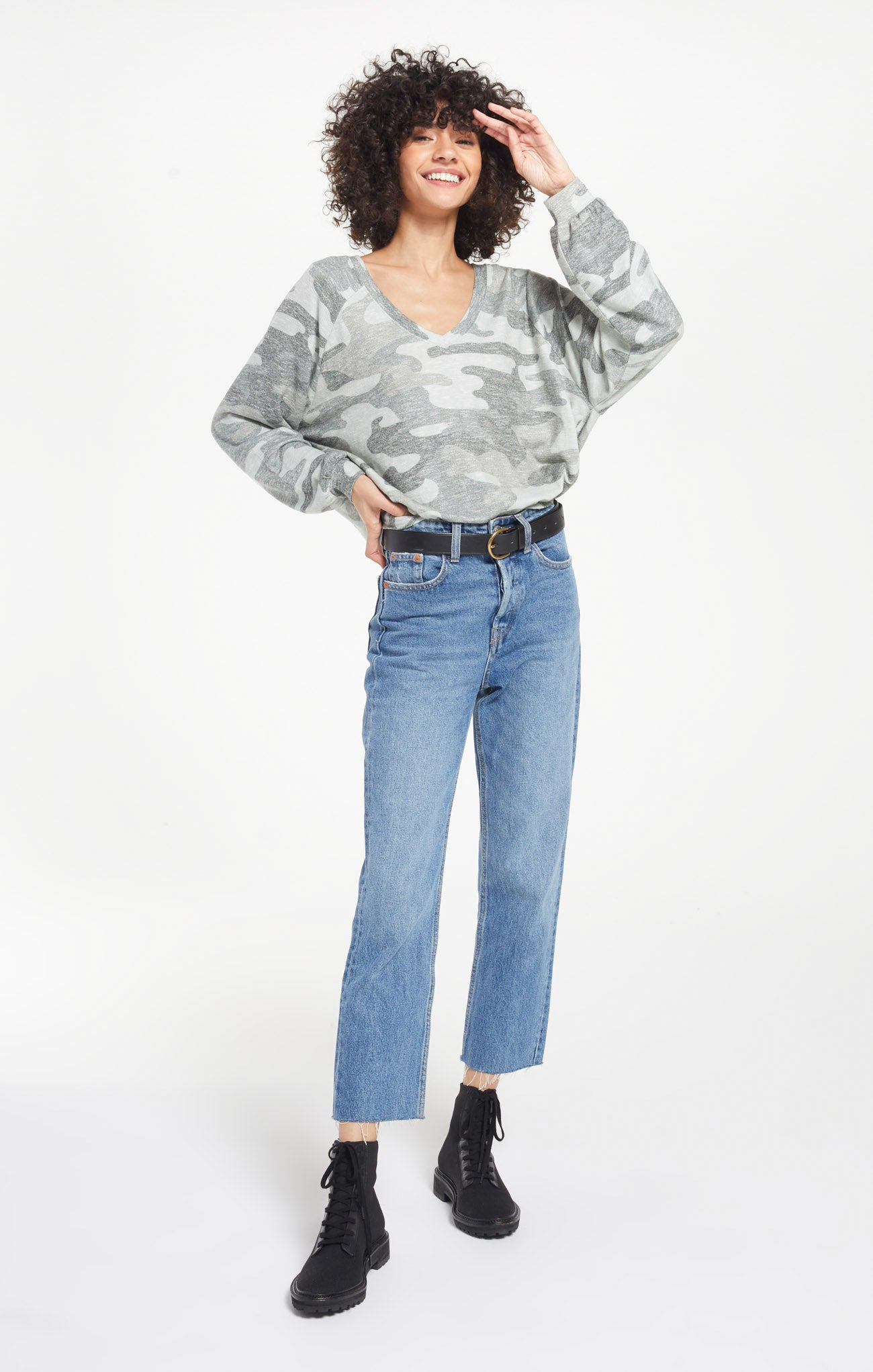 Tops Plira Camo Sweater Slub Top Ash Green Camo