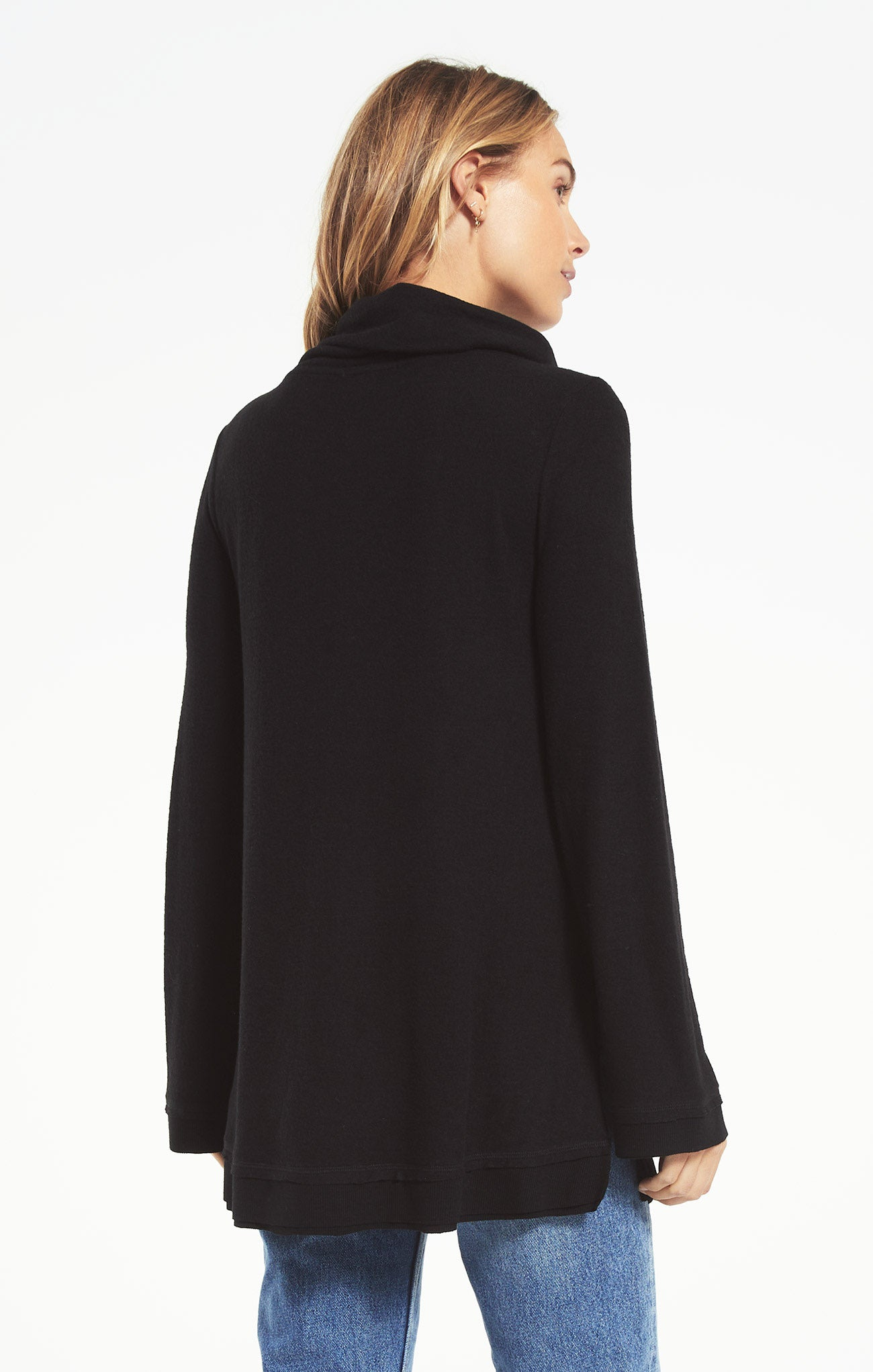 Tops Ali Cowl Sweater Slub Pullover Black