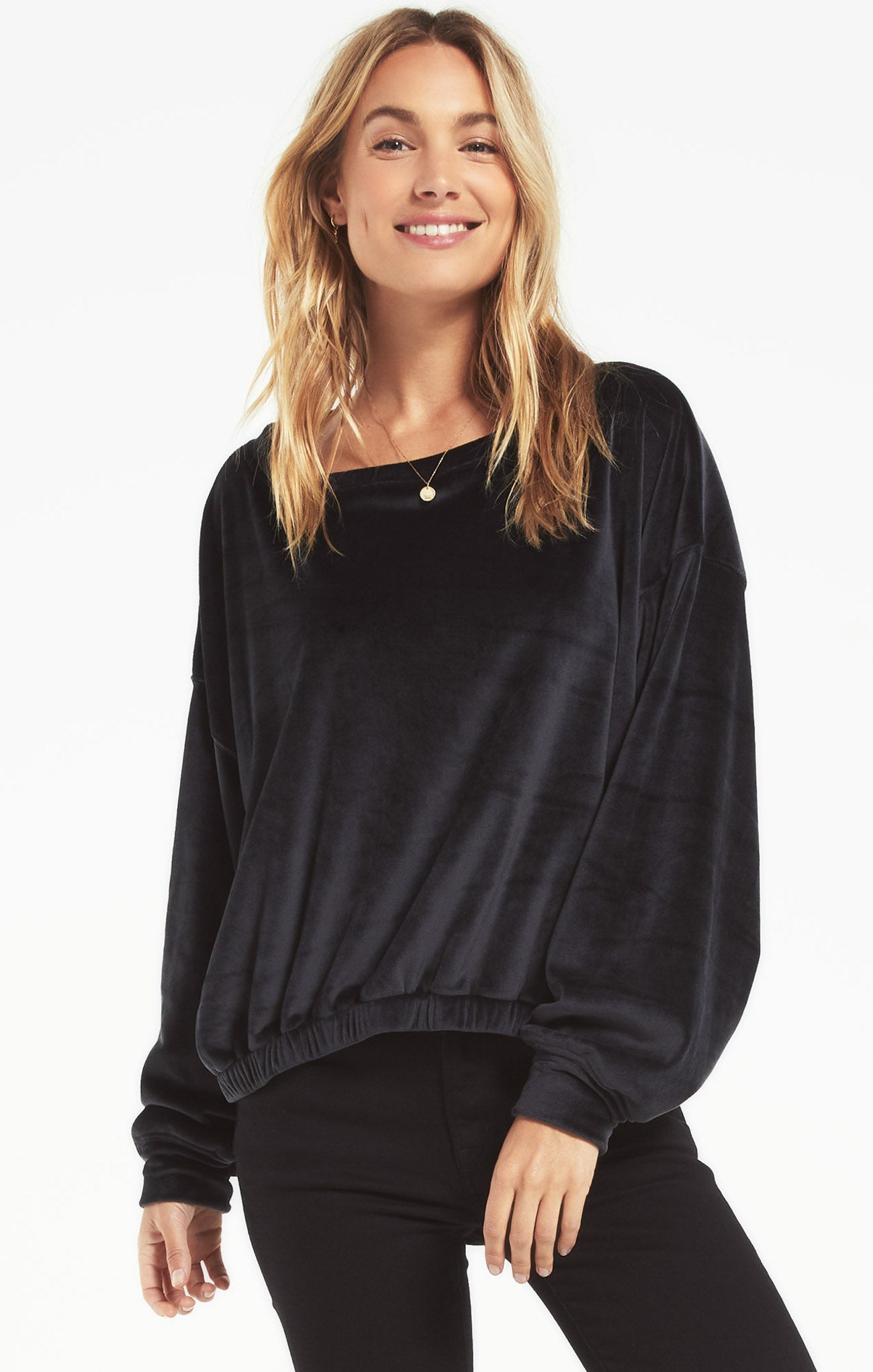 Tops Bodhi Velour Sweatshirt Onyx