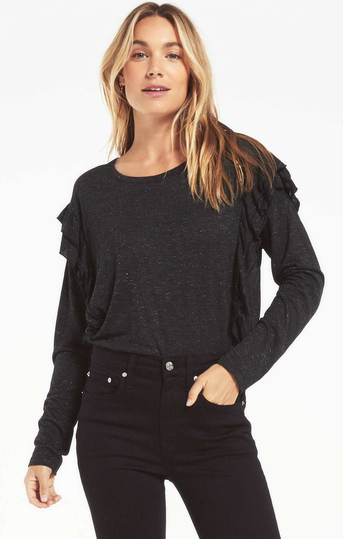 Tops Adele Sparkle Ruffle Top Black