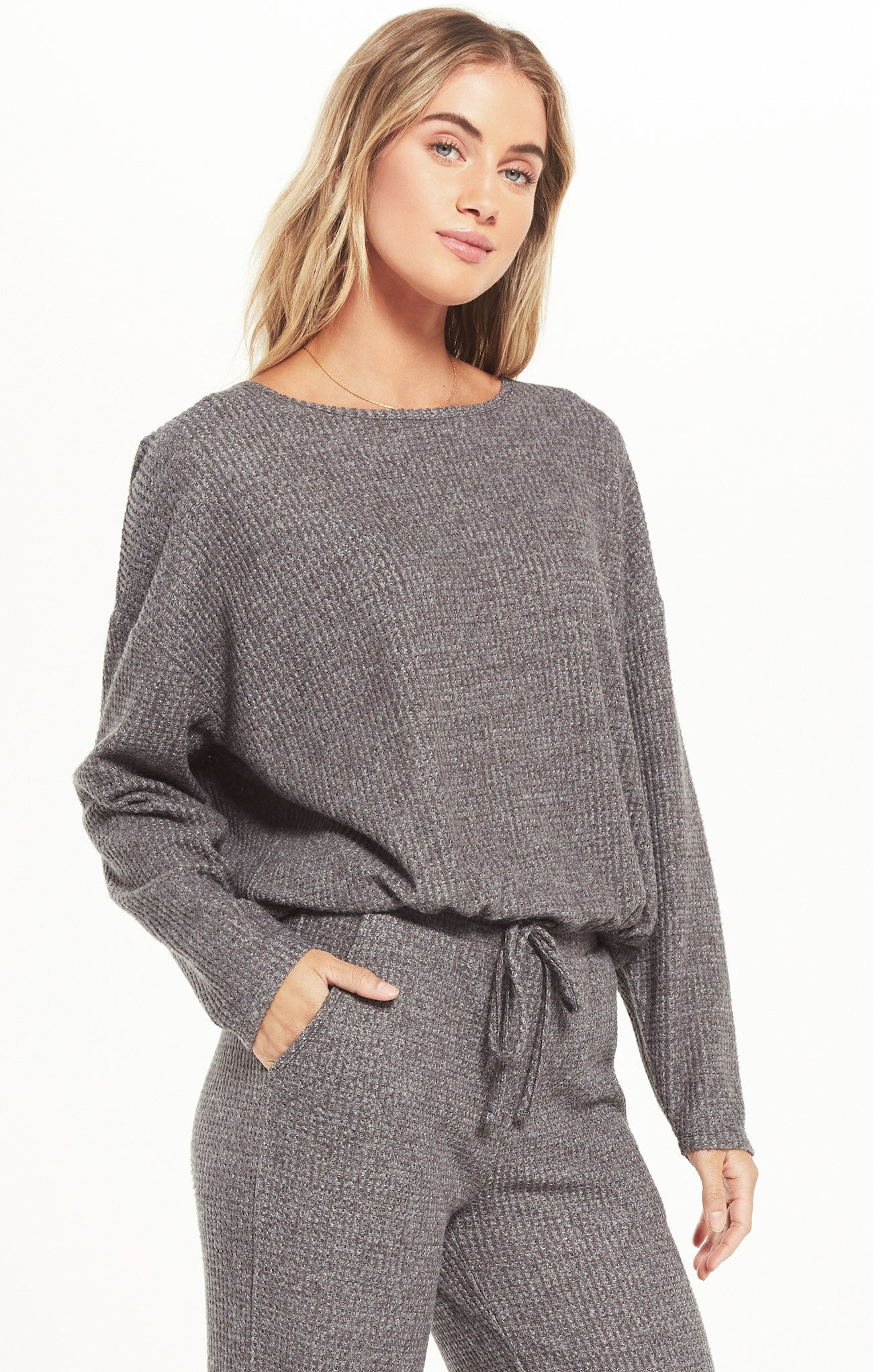 Tops Hang Out Thermal Long Sleeve Top Charcoal