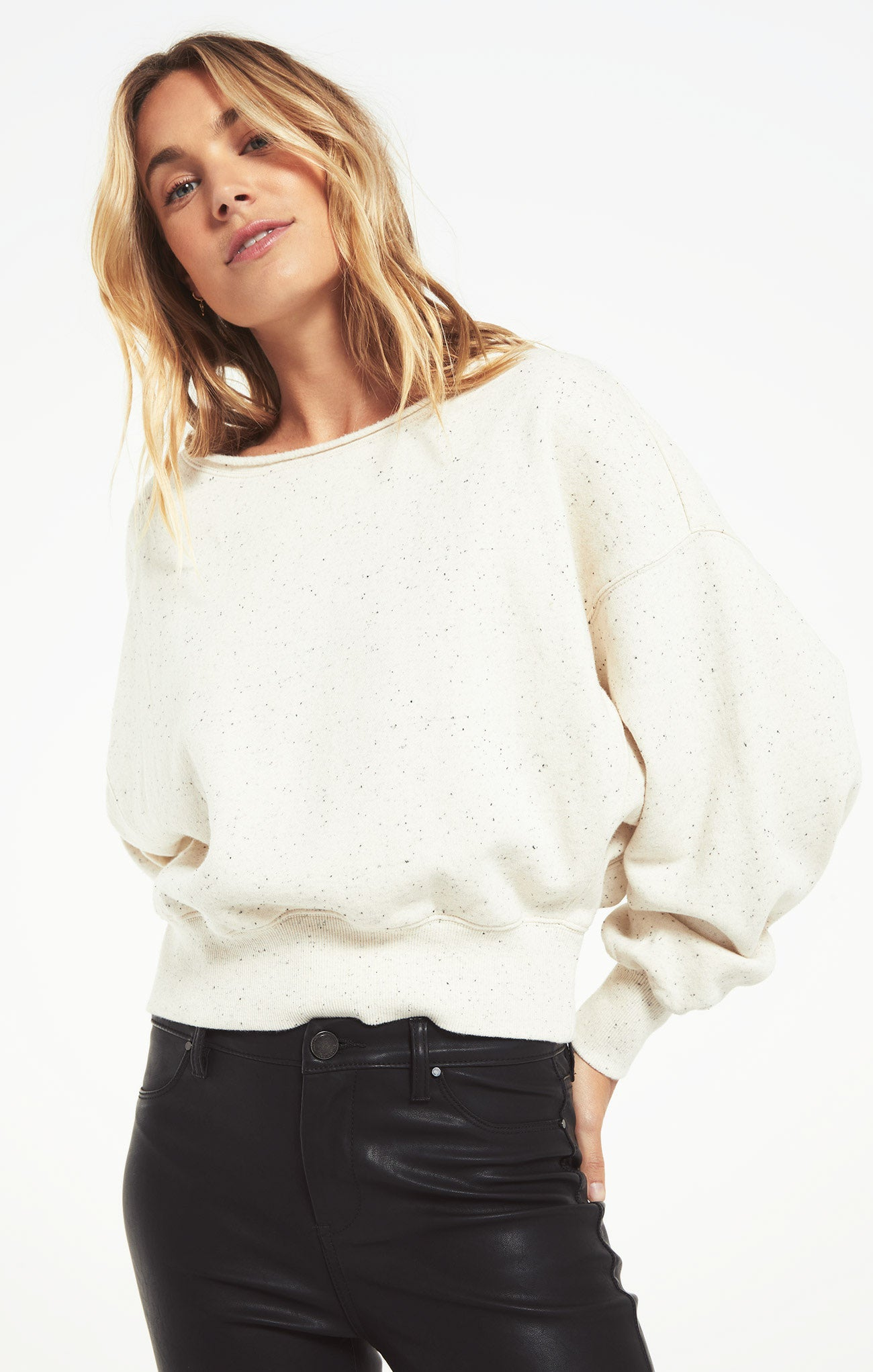 Tops Allie Speckled Sweatshirt Natural
