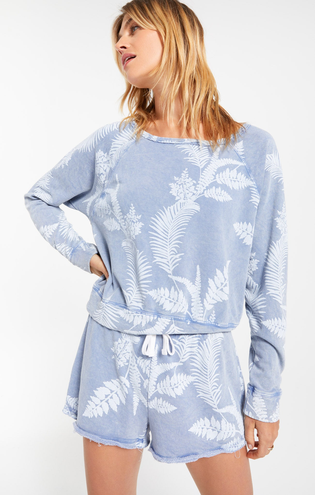 Tops Summer Palm Pullover Dusty Navy