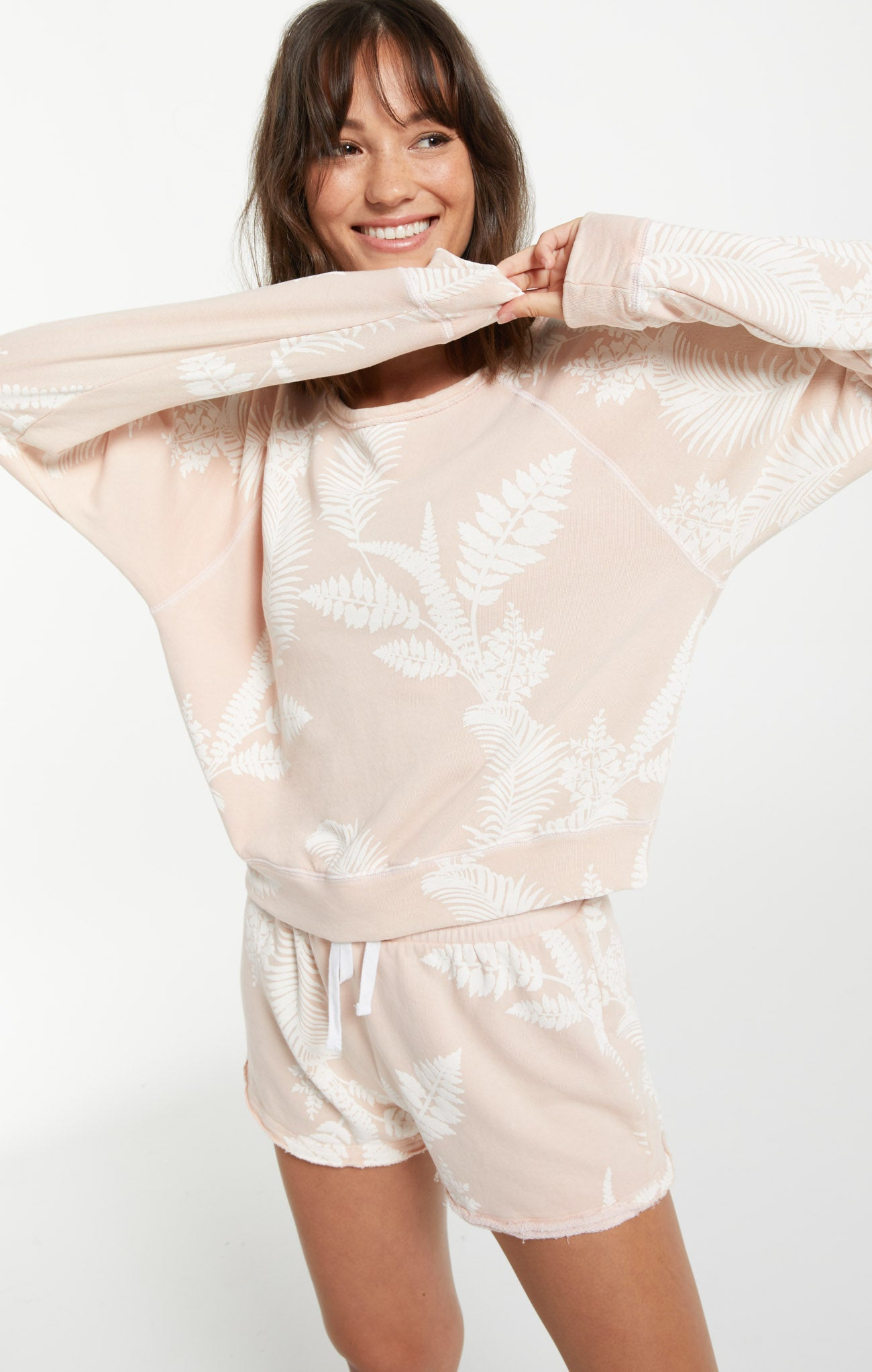 Tops Summer Palm Pullover Rose Pearl