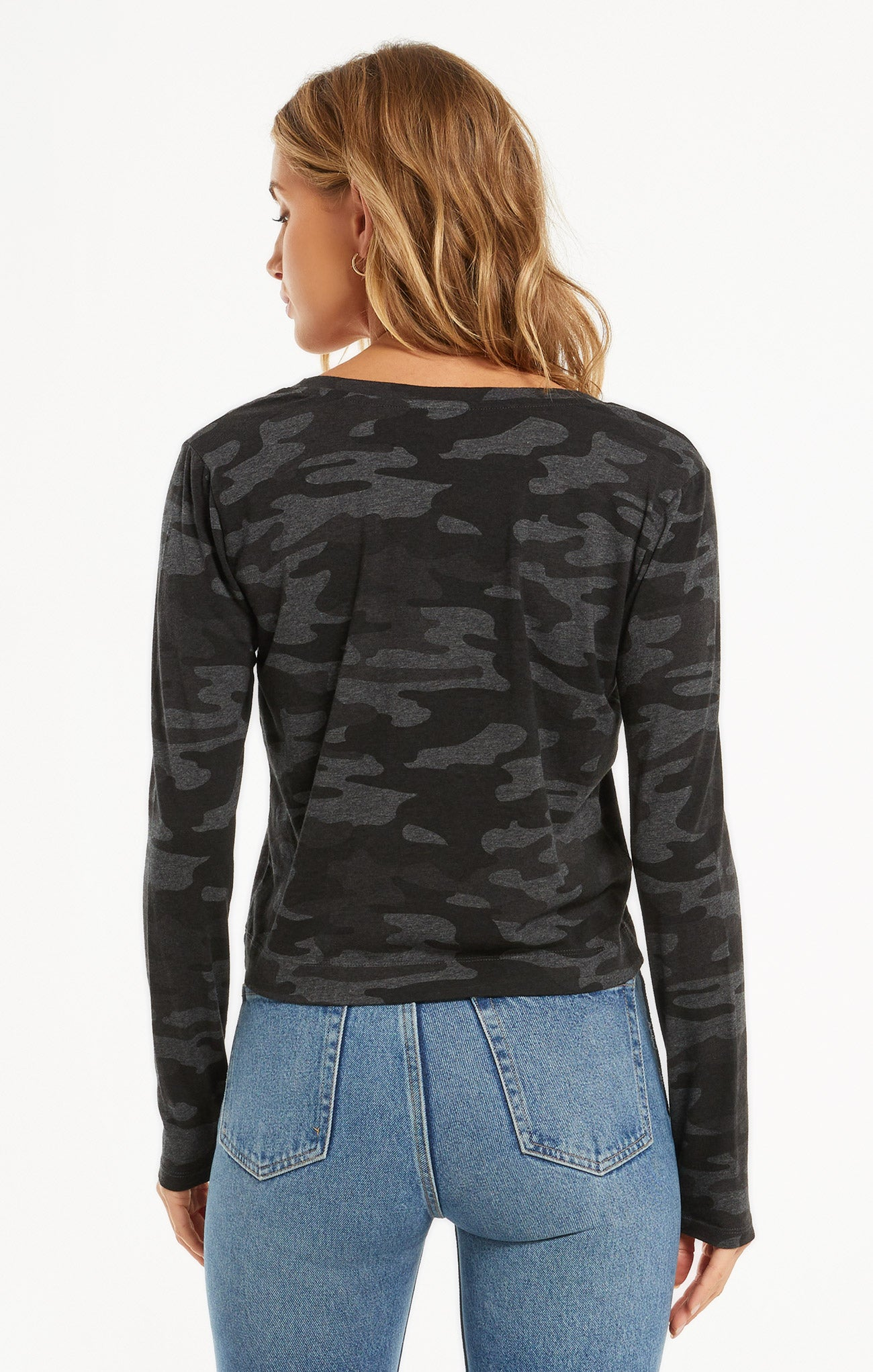 Tops Skimmer Camo Long Sleeve Pocket Tee Camo Dark Charcoal