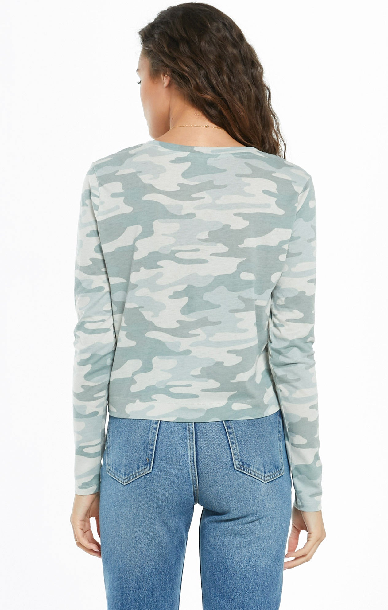 Tops Skimmer Camo Long Sleeve Pocket Tee Camo Dusty Sage