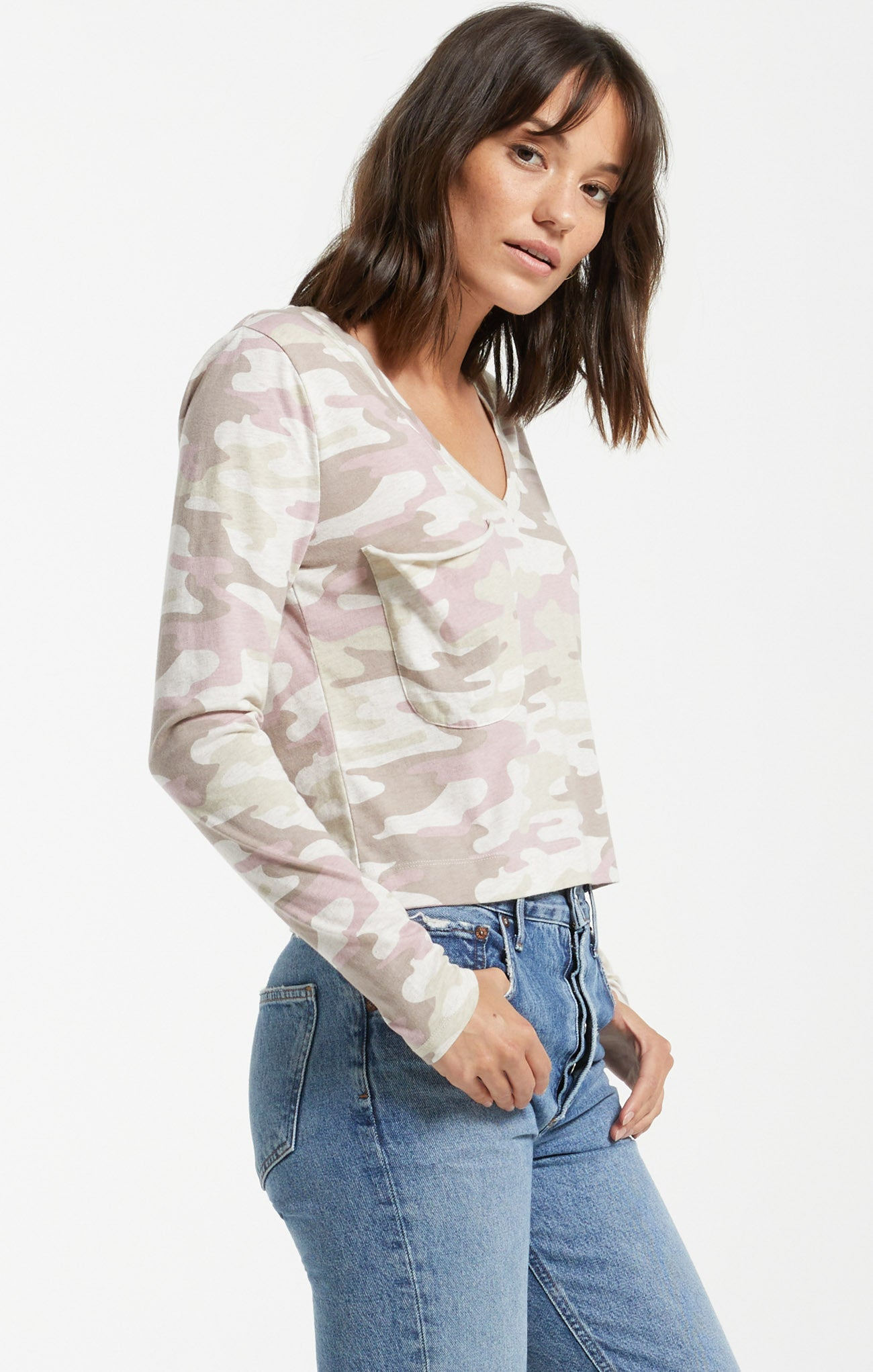 Tops Skimmer Camo Long Sleeve Pocket Tee Camo Mauve