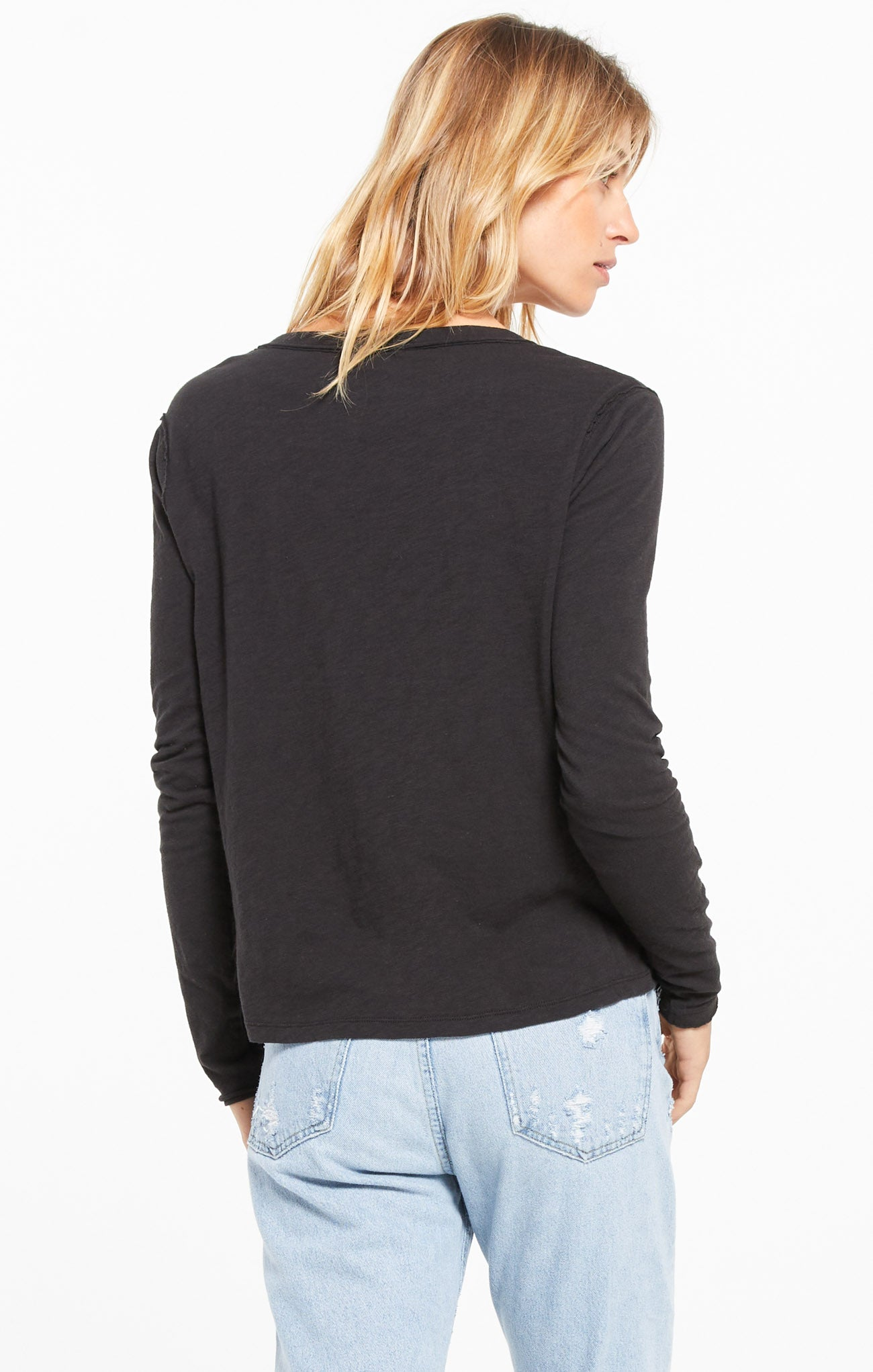 Tops Kira Slub V-Neck Long Sleeve Tee Black