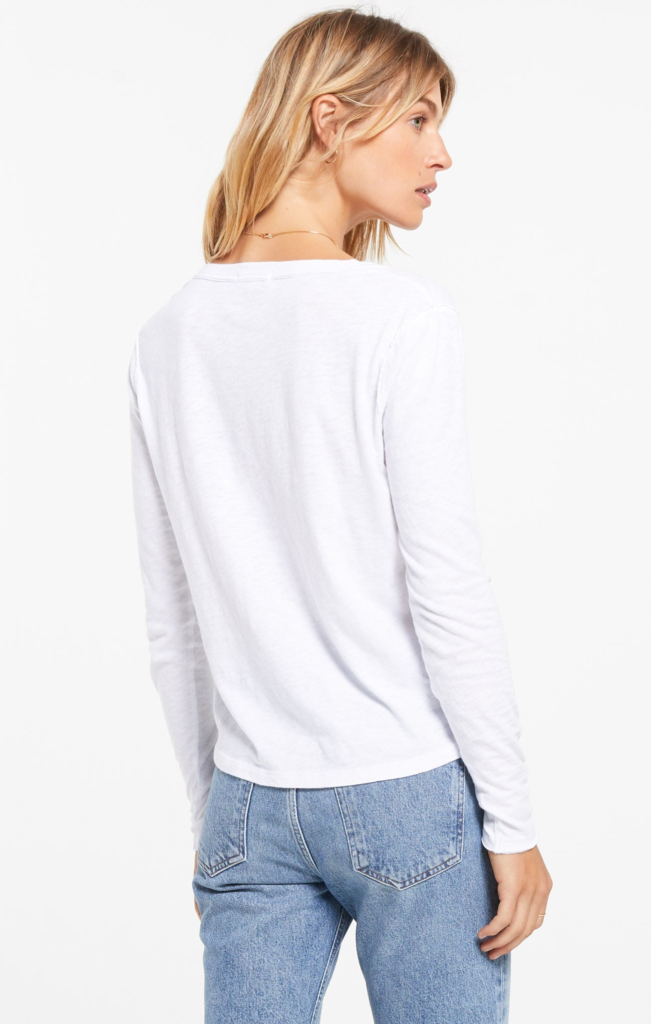 Tops Kira Slub V-Neck Long Sleeve Tee White