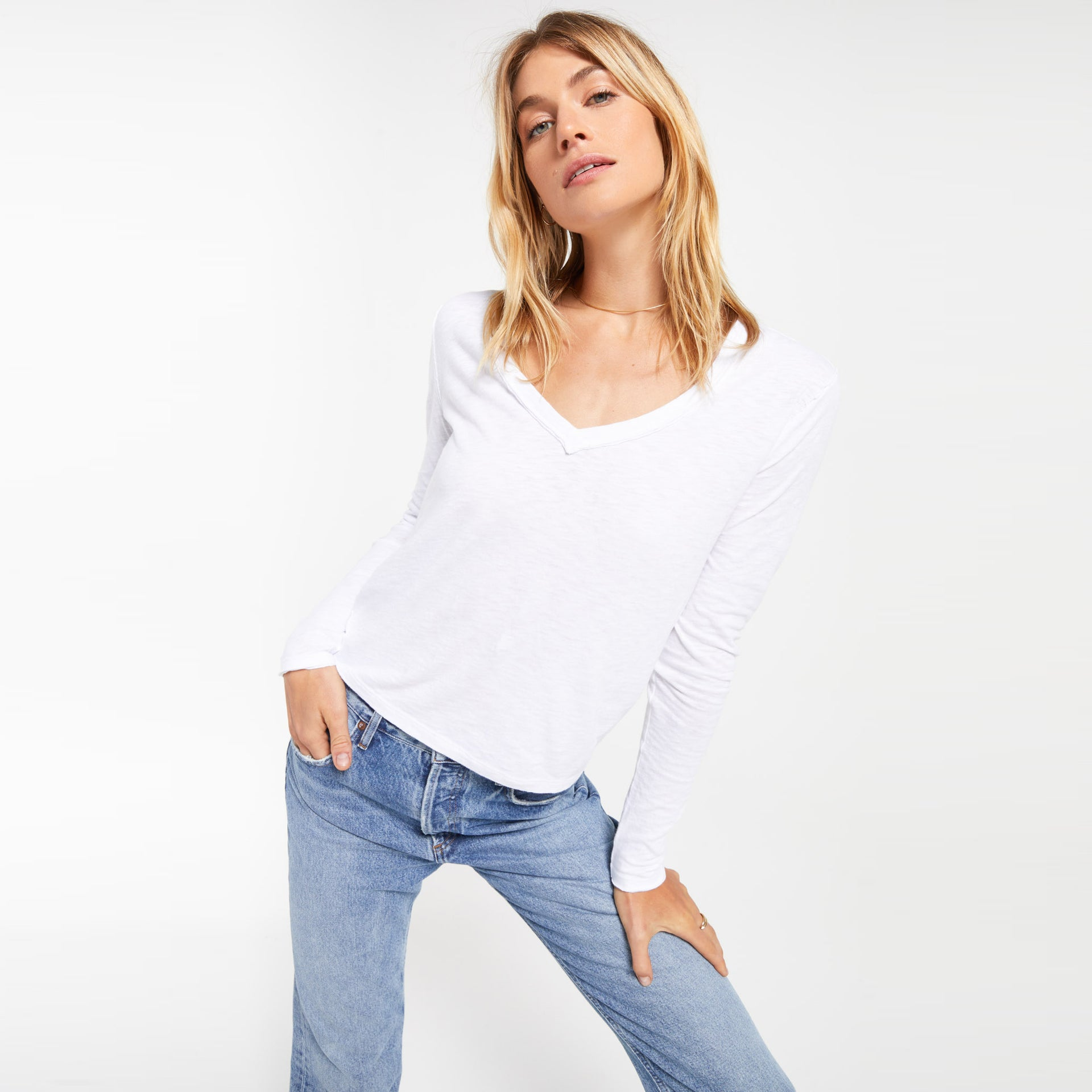 Tops Kira Slub V-Neck Long Sleeve Tee Kira Slub V-Neck Long Sleeve Tee