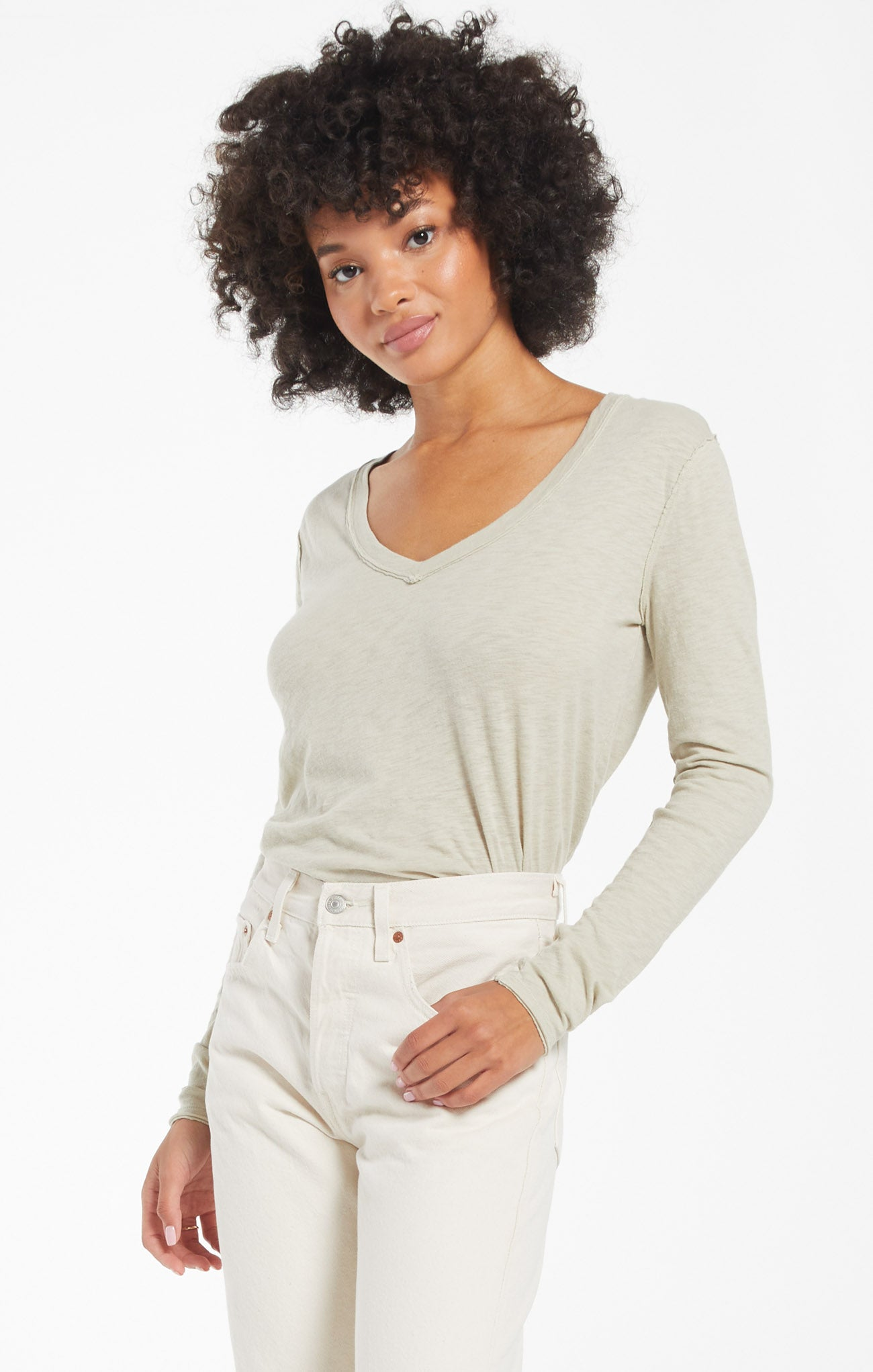 Tops Kira Slub V-Neck Long Sleeve Tee Celery