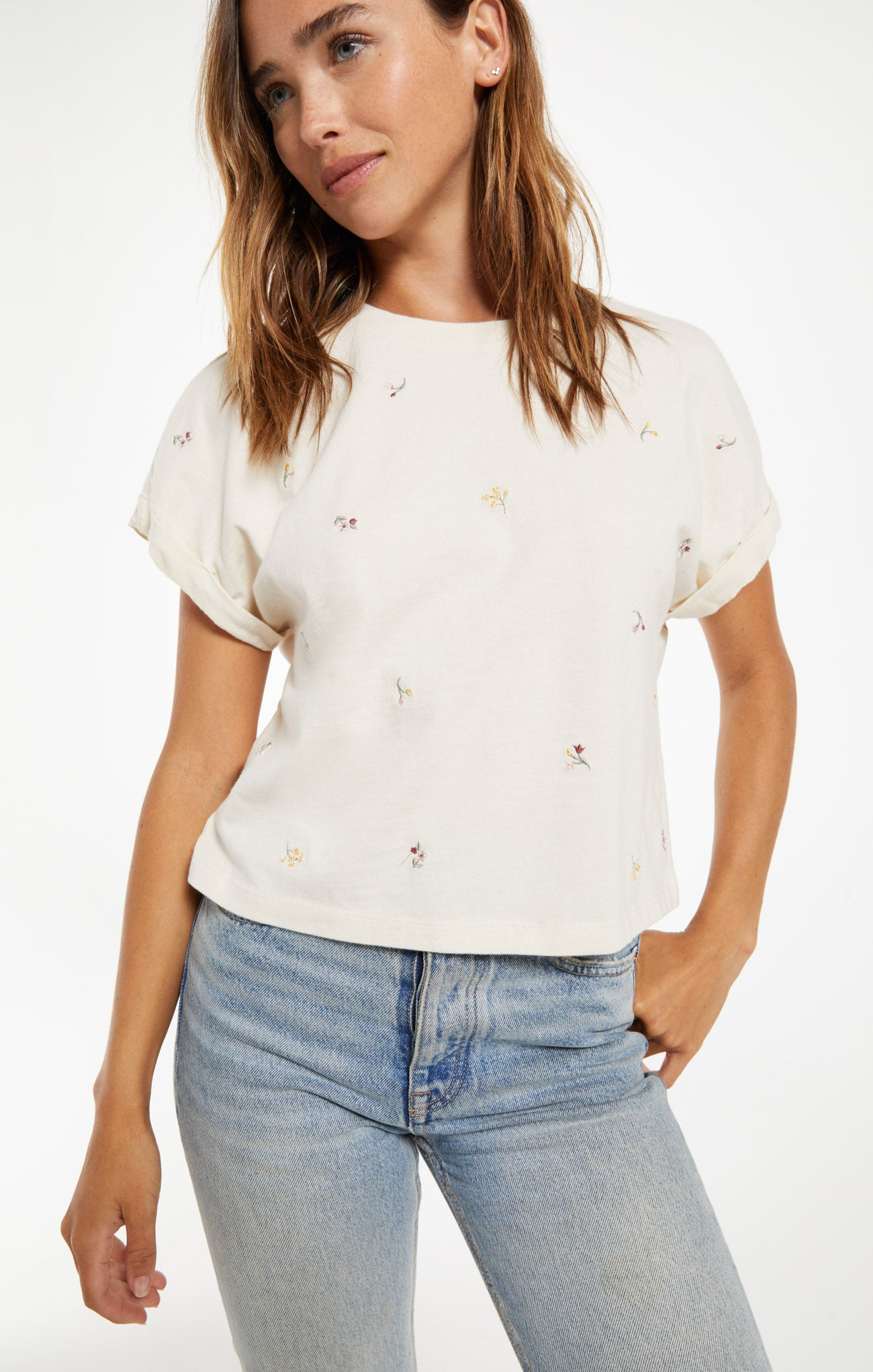 Tops Keely Embroidered Floral Tee Keely Embroidered Floral Tee