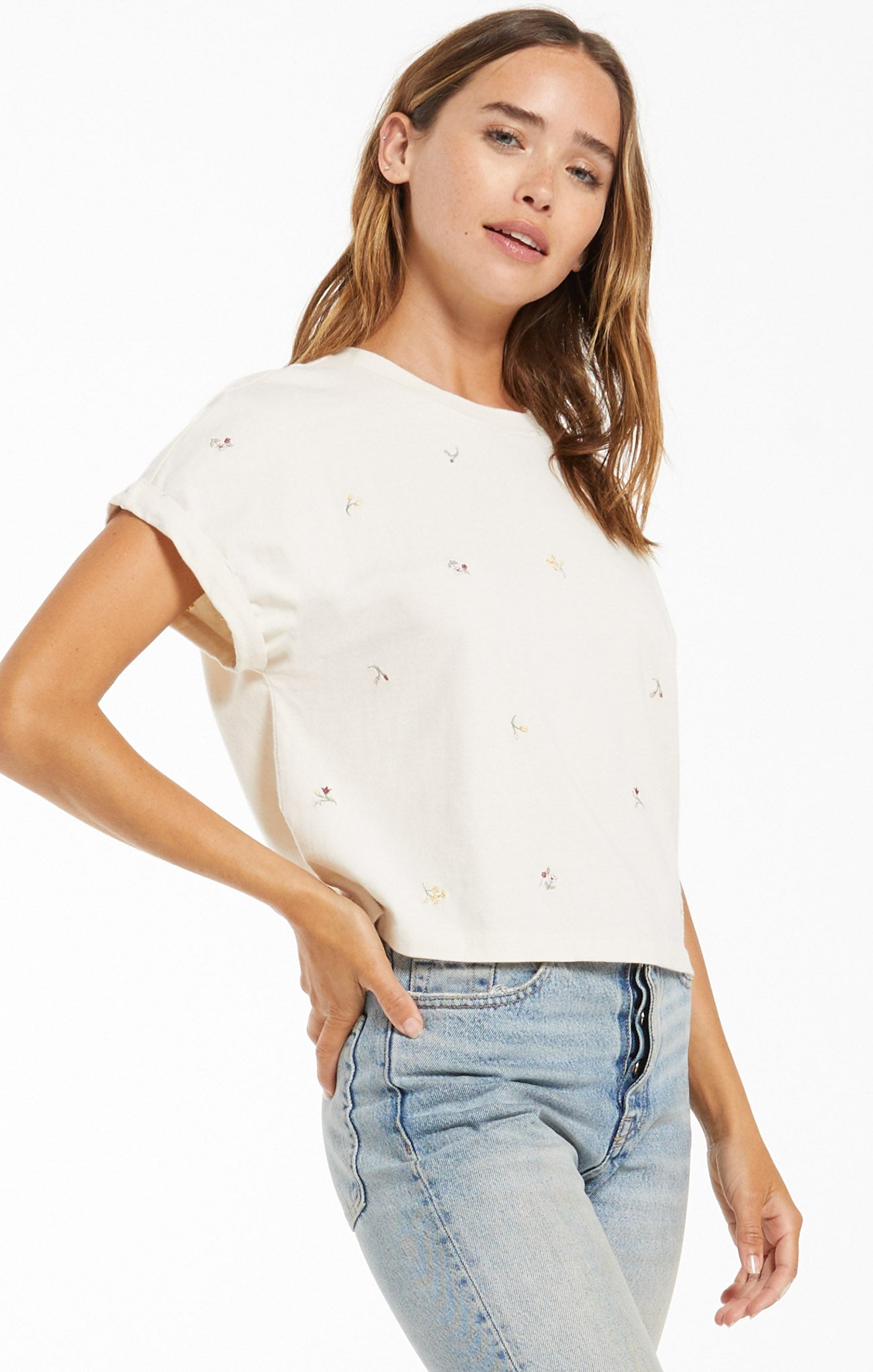 Tops Keely Embroidered Floral Tee Bone
