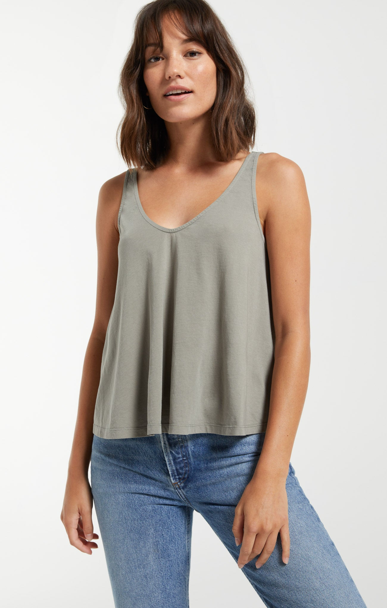 Tops Heather Organic Tank Dusty Sage
