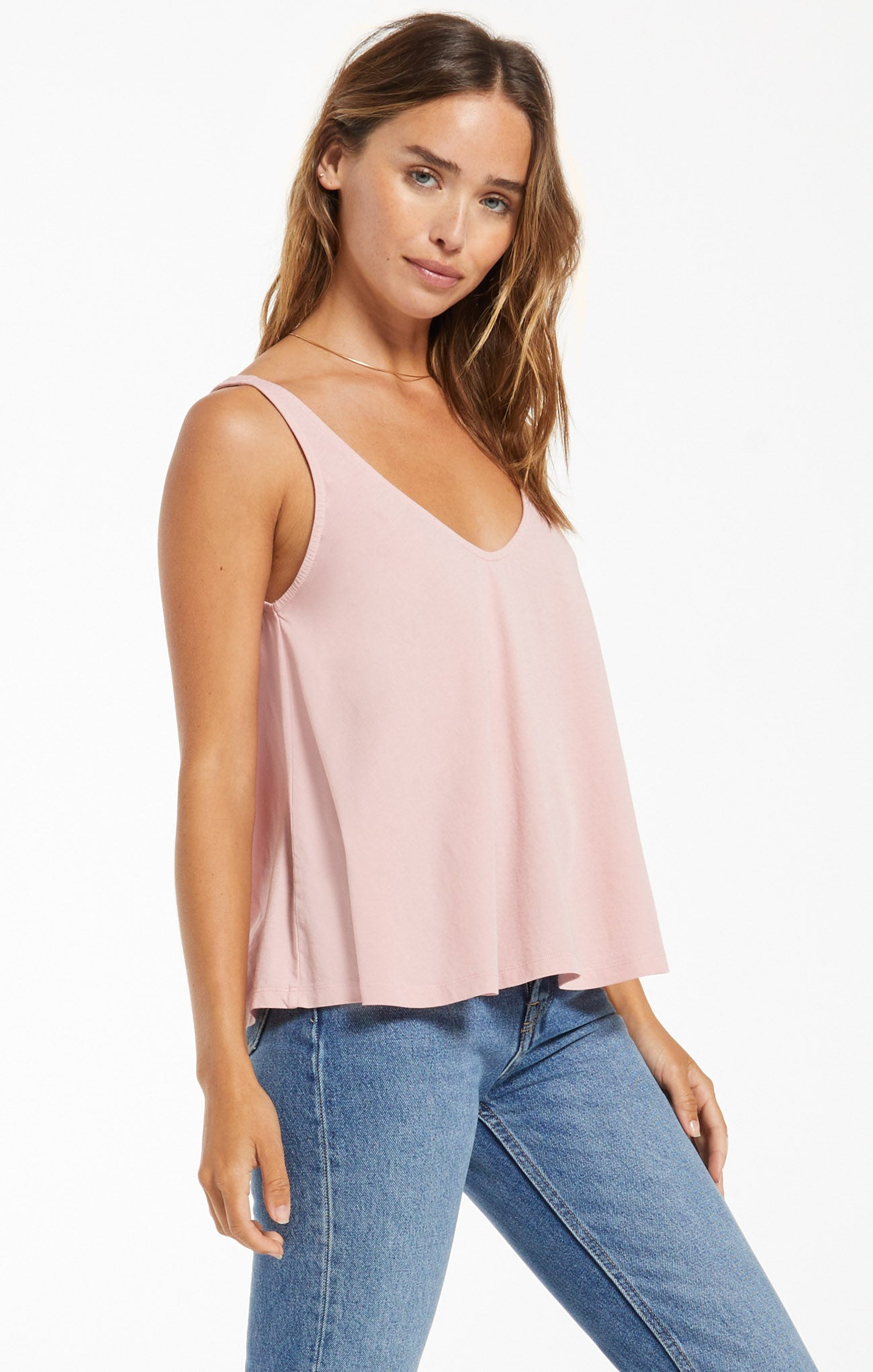 Tops Heather Organic Tank Pale Mauve