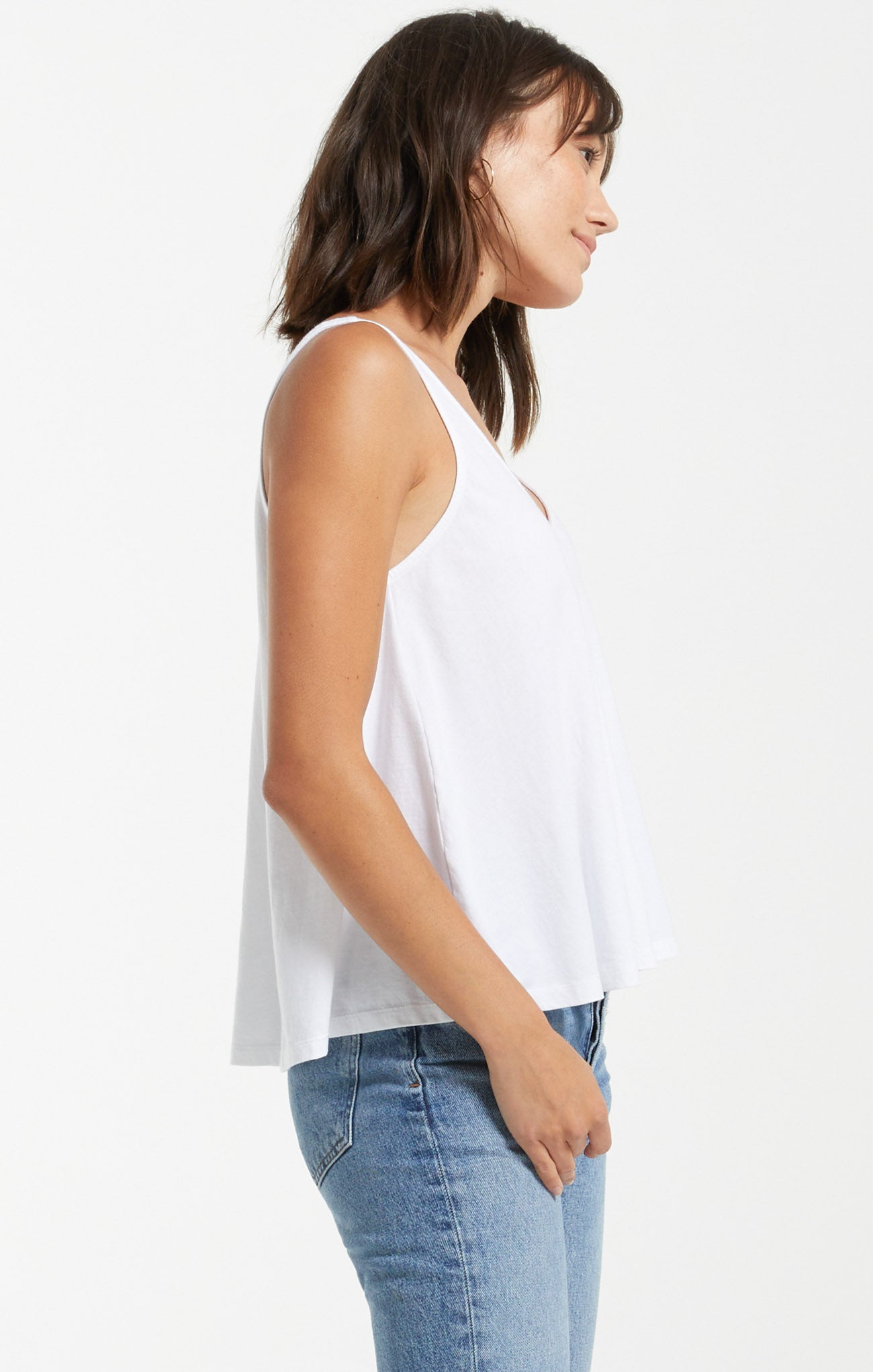 Tops Heather Organic Tank White