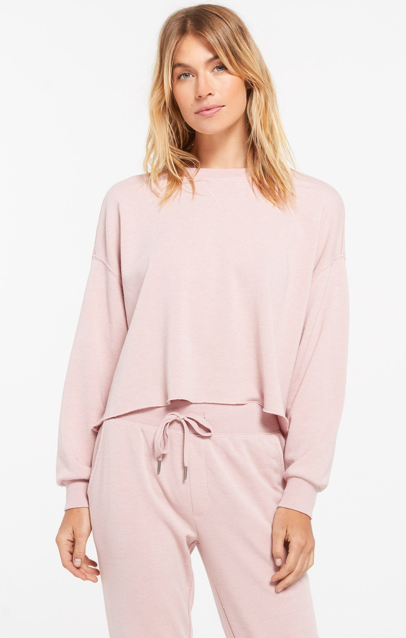 Tops Izzy Loop Terry Pullover Pink Blossom