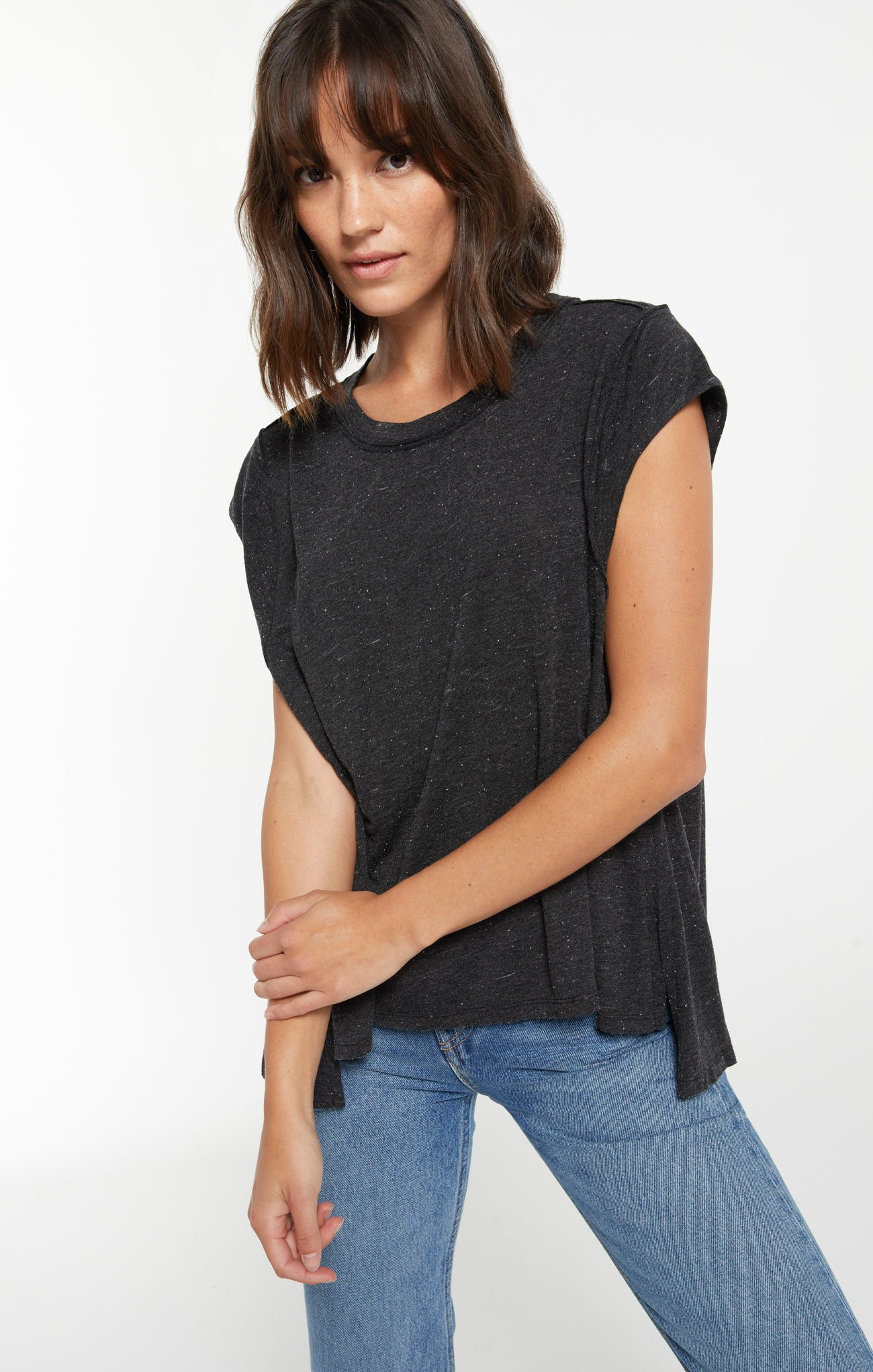 Tops Riley Speckle Tee Black